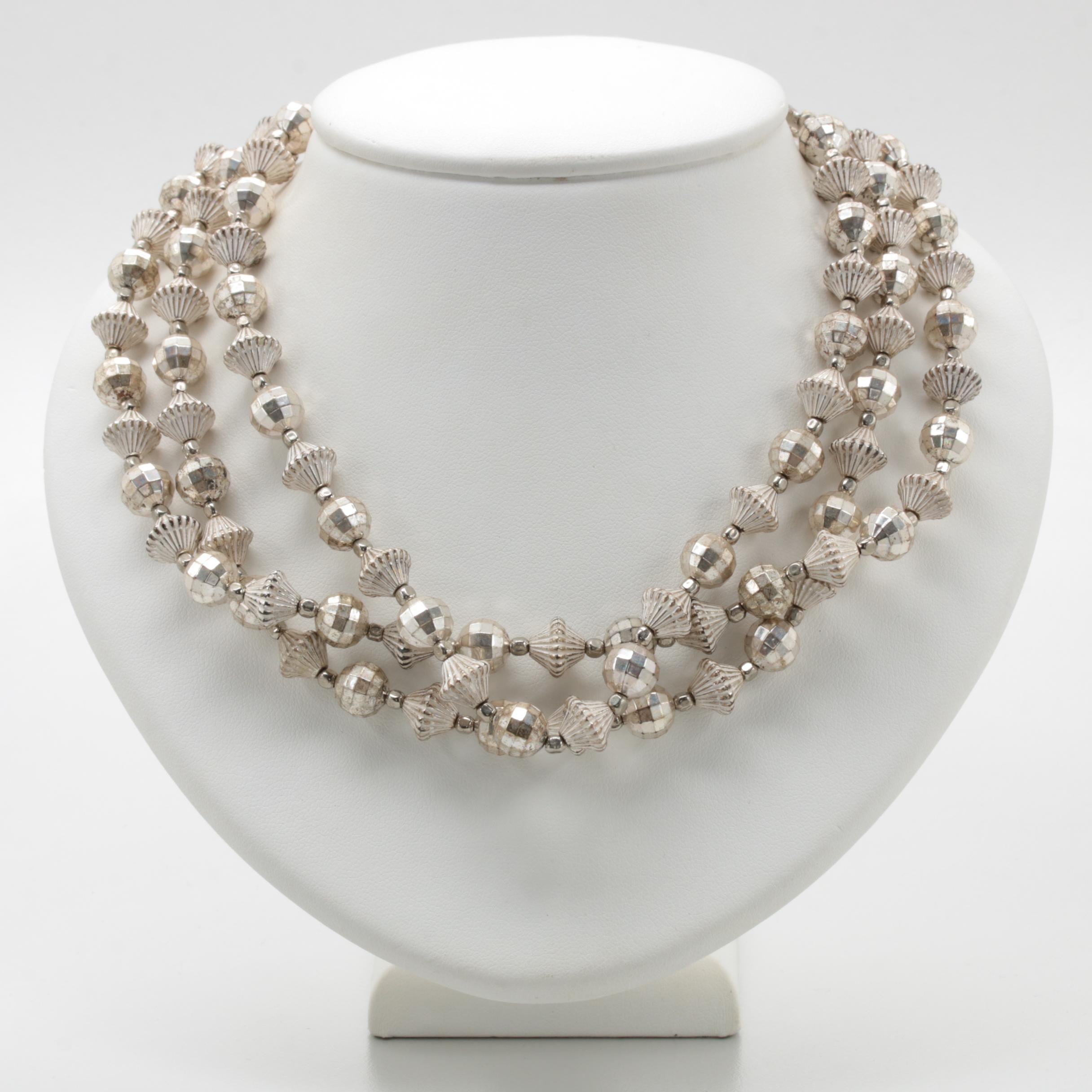 Vintage Style Silver Tone Multi Strand Bead Necklace