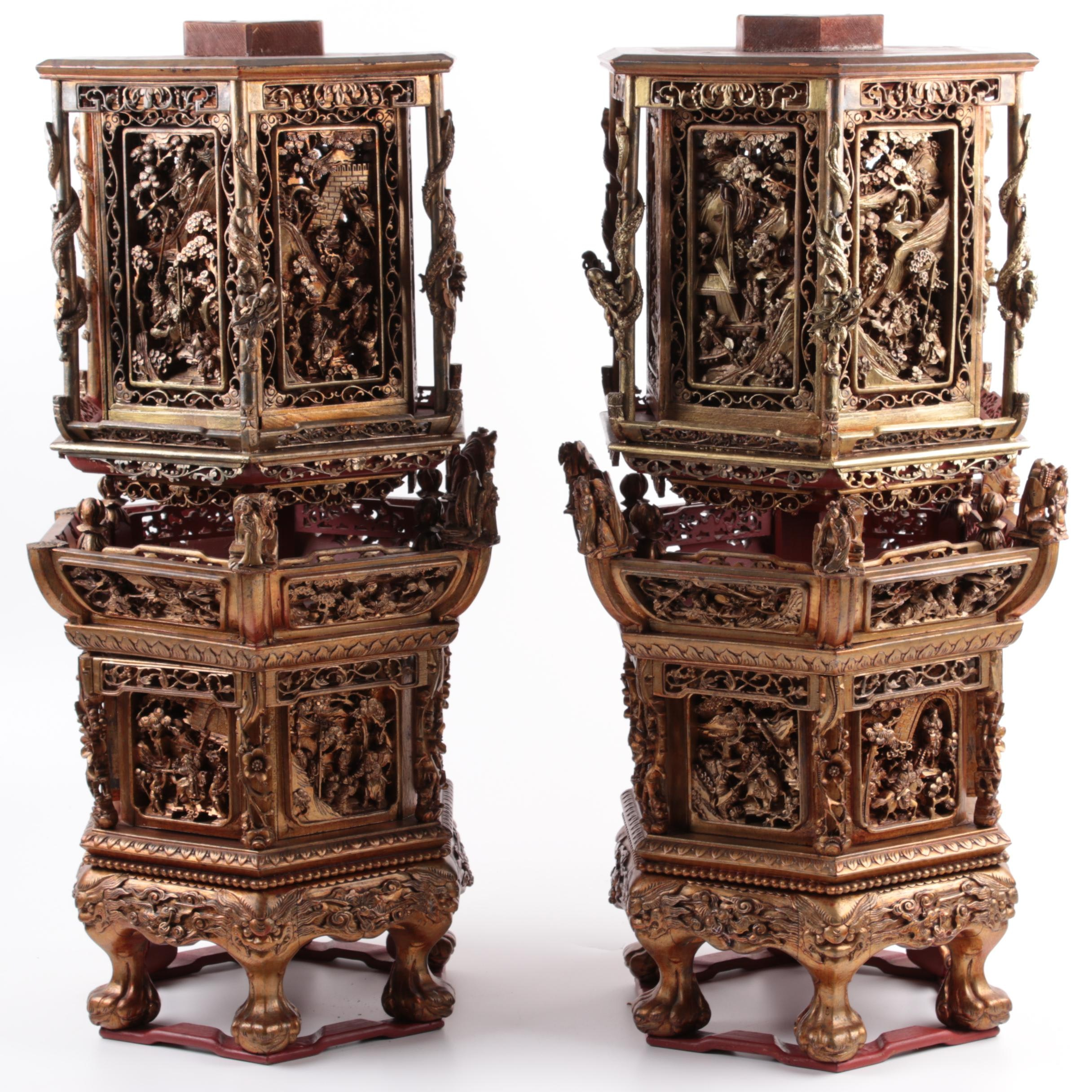 Qing Dynasty Chinese Finely Carved and Gilt Temple Stands
