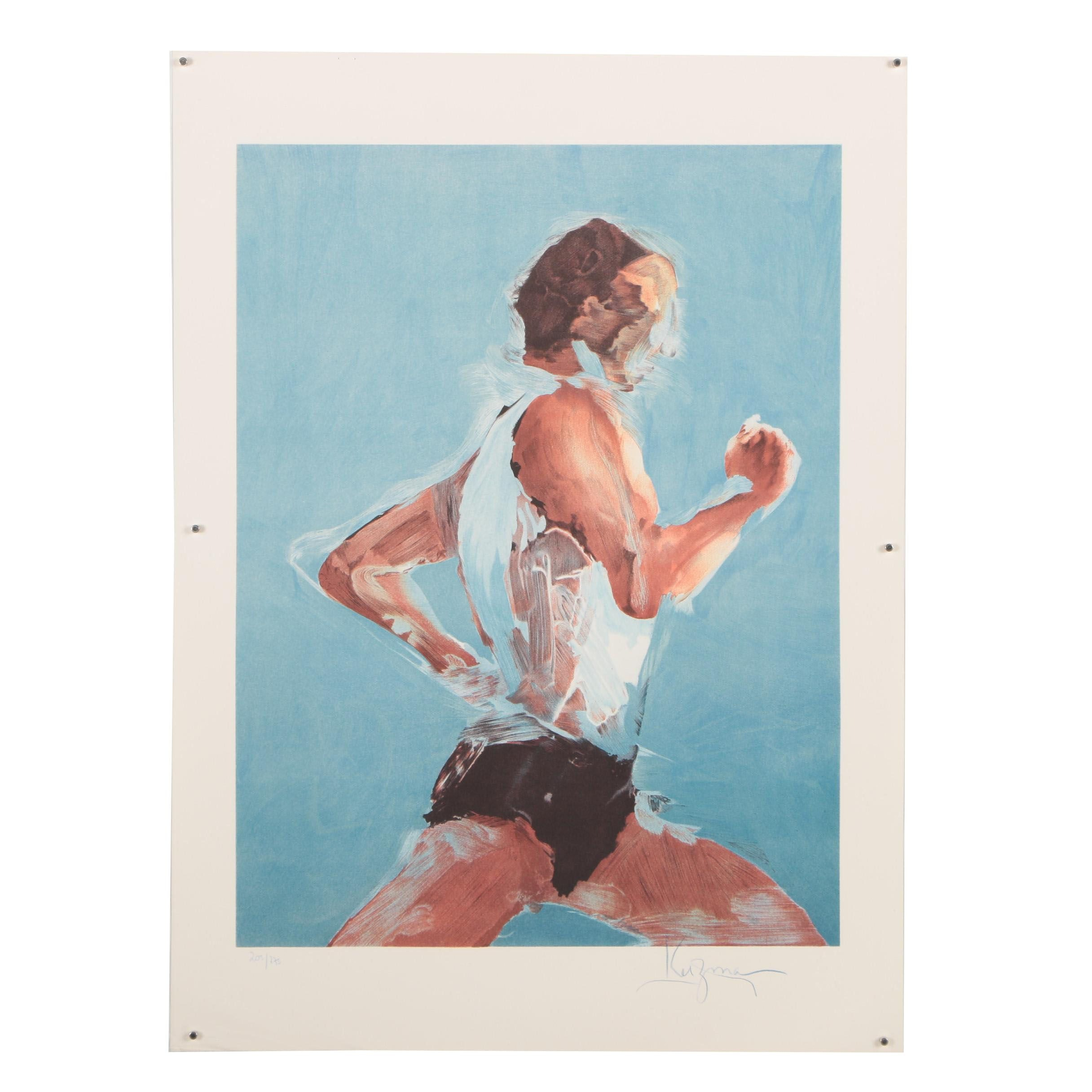"Stephen Kuzma Limited Edition Color Lithograph ""Runner"""