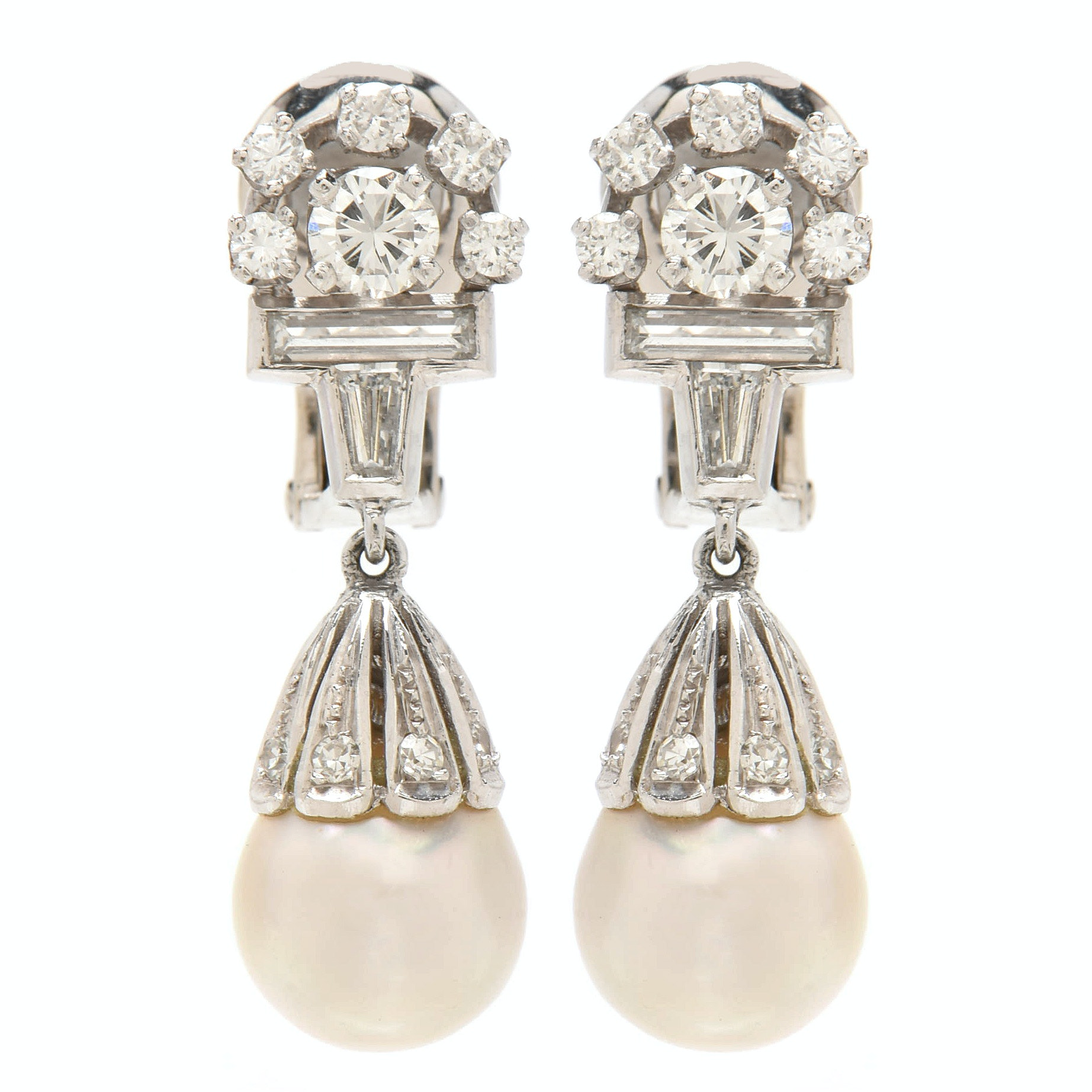 Art Deco Style Platinum 14K Gold Cultured Pearl and 1.53 CTW Diamond Earrings