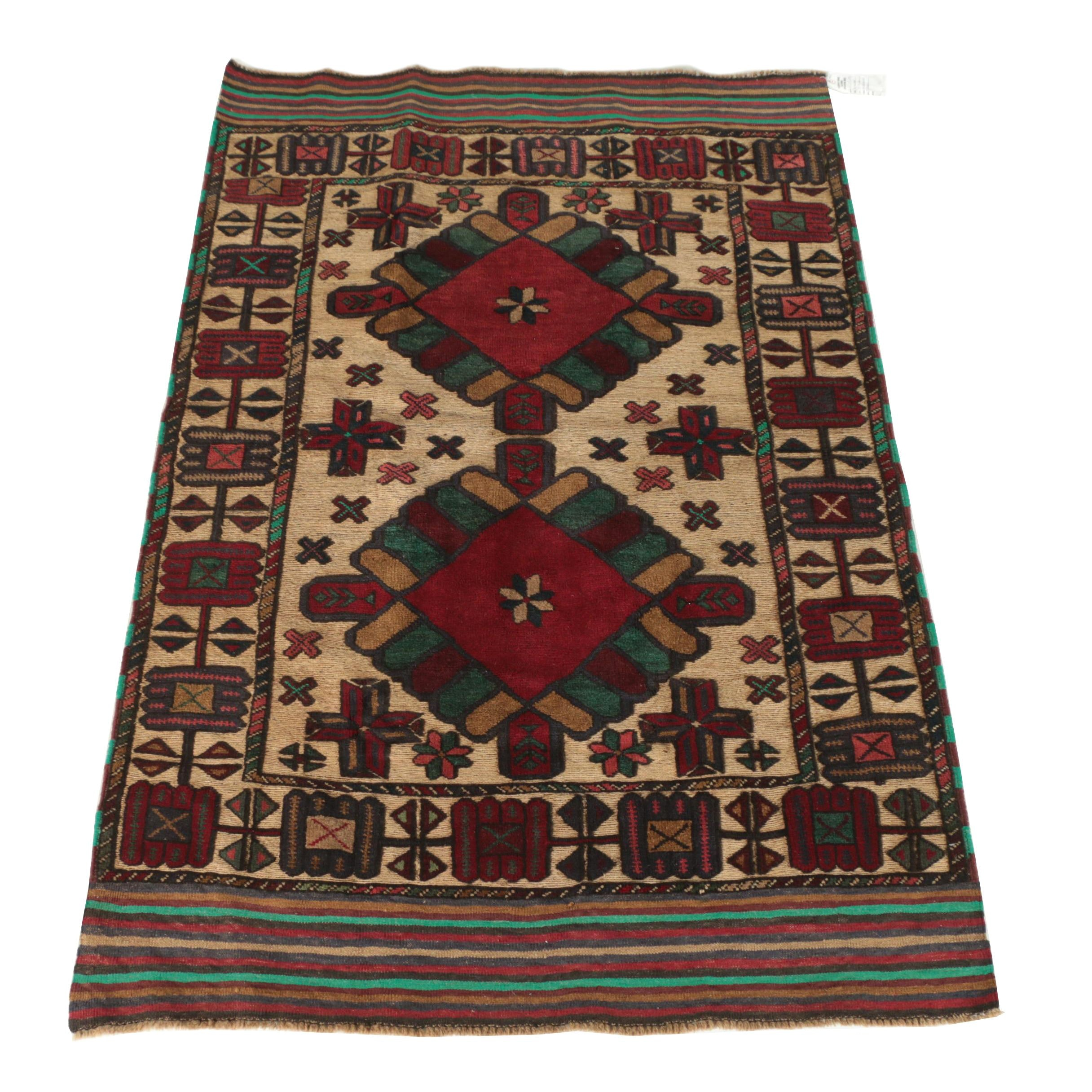 Hand-Knotted Persian Baluch Tribal Wool Area Rug
