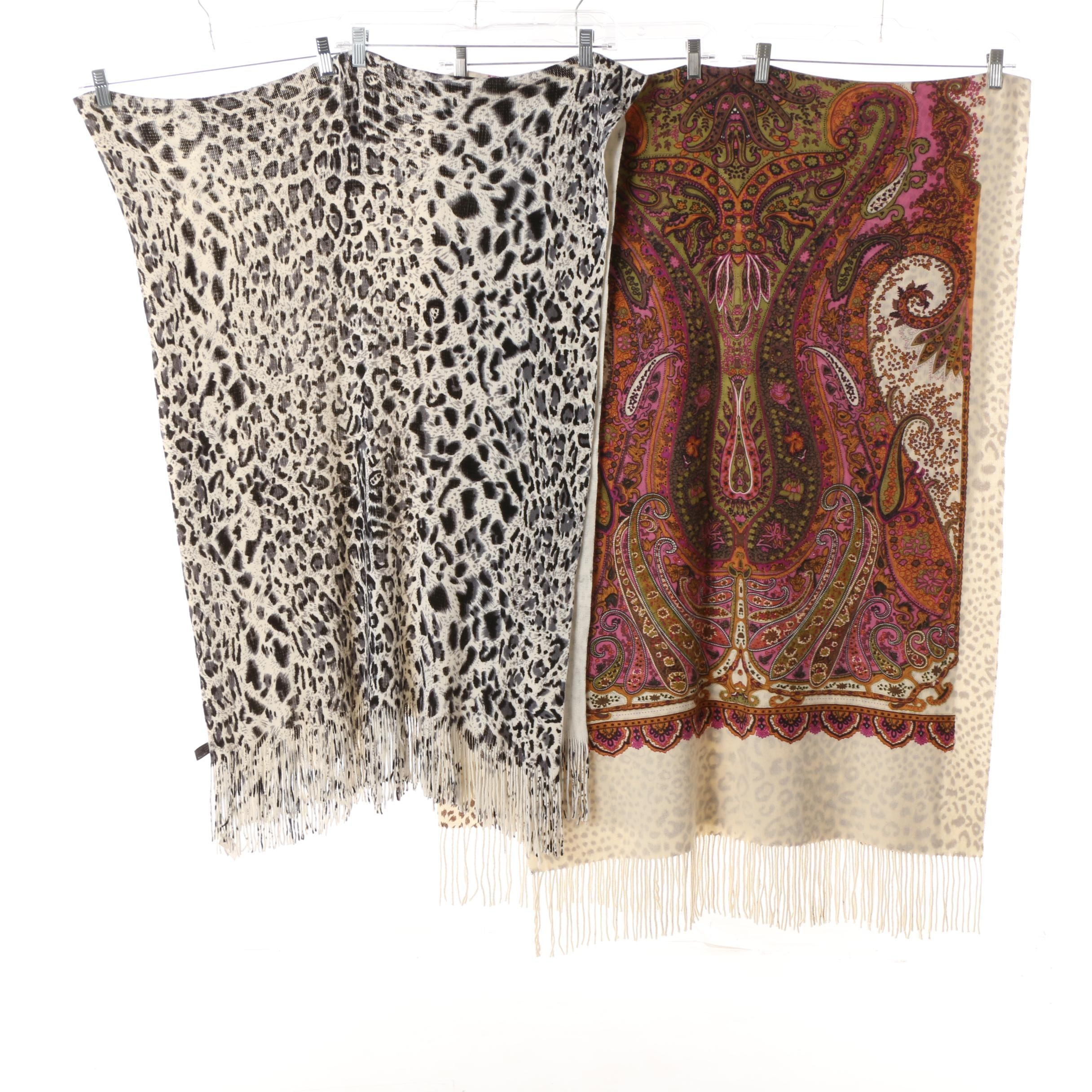 Rikka Paisley Print Scarf with Unlabeled Leopard Print Scarf