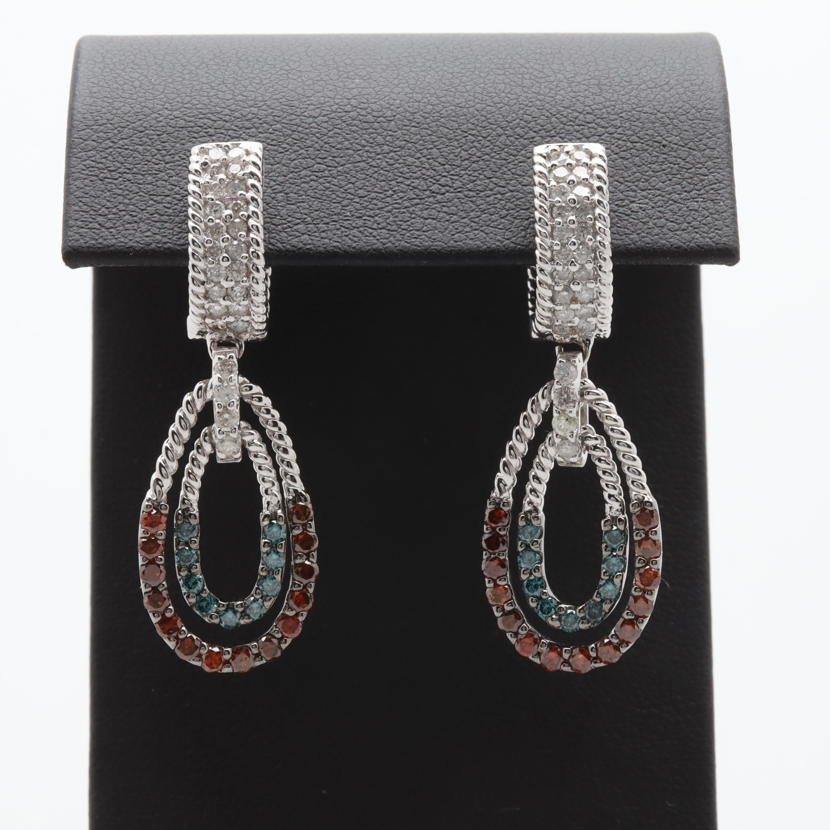 14K White Gold 2.03 CTW Diamond Earrings
