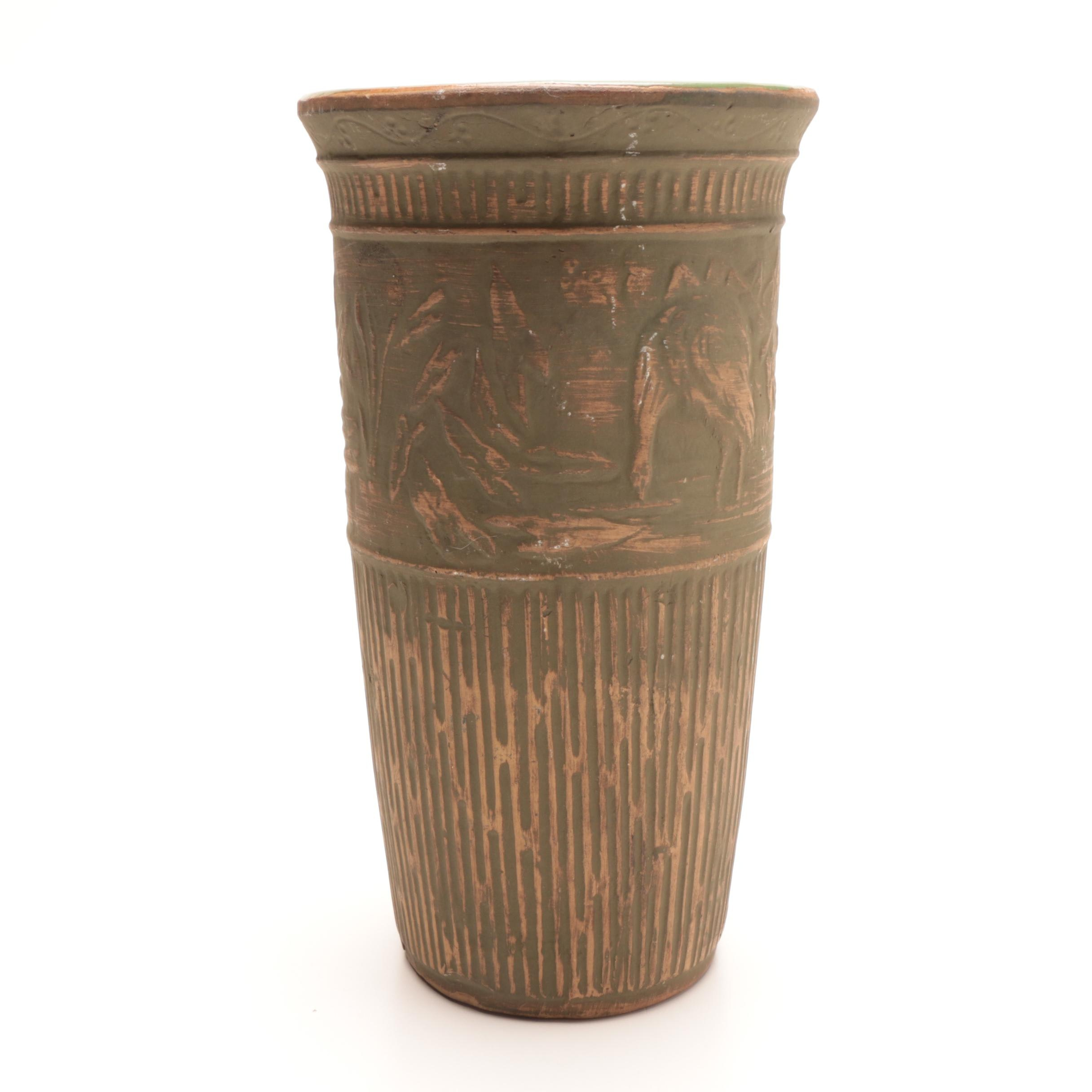 "Red Wing Union Stoneware Brushware ""Crane"" Scenic Vase"