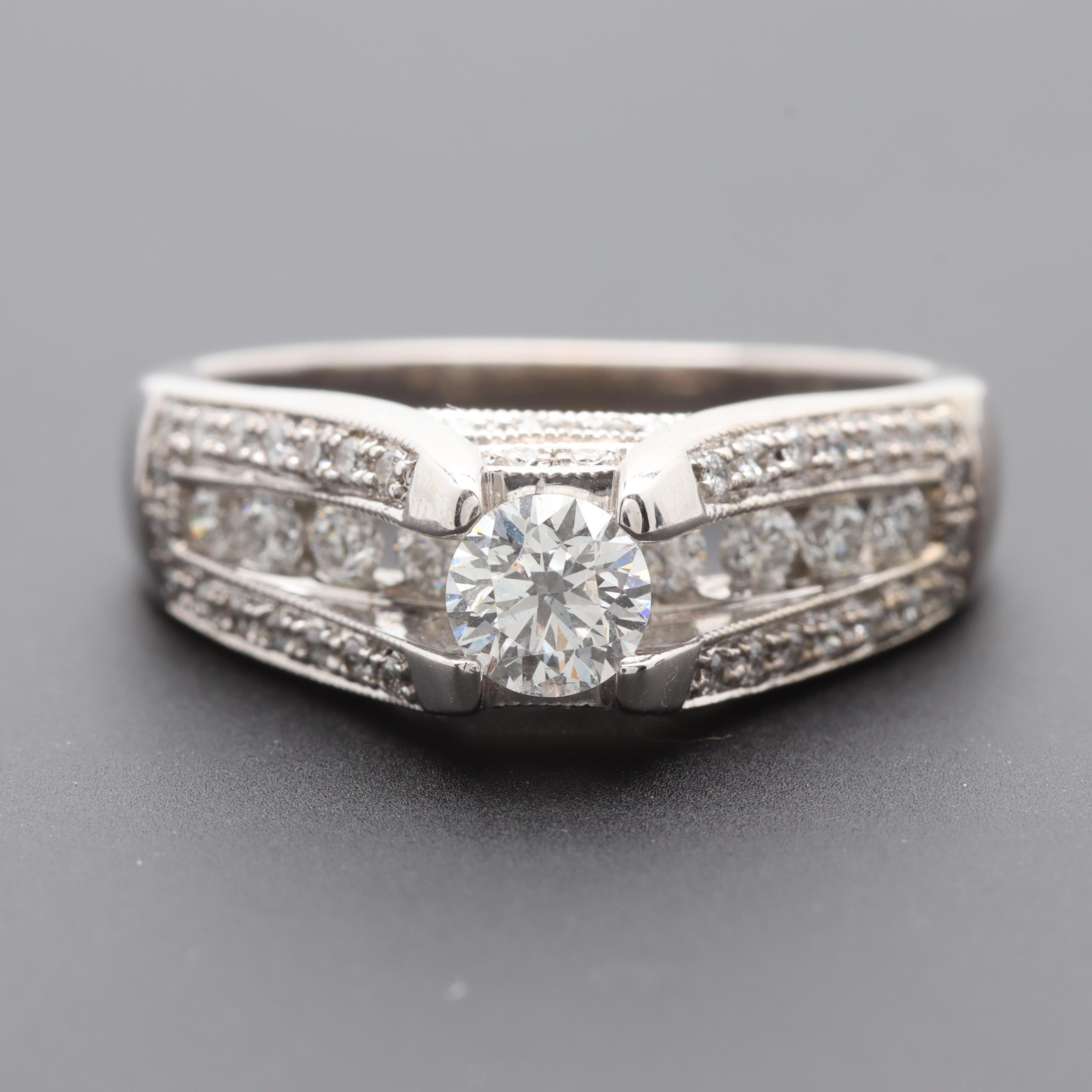 14K White Gold 1.08 CTW Diamond Ring