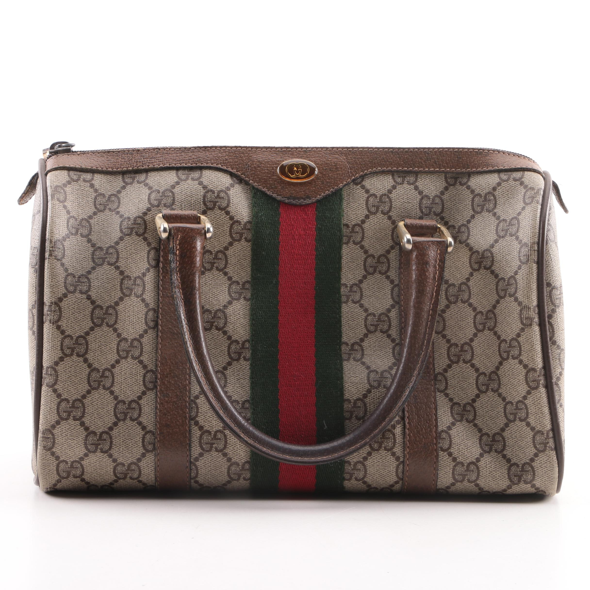 Vintage Gucci Accessory Collection Supreme Canvas and Leather Satchel
