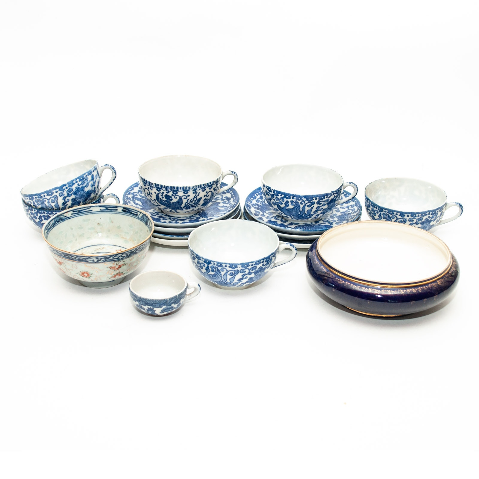 Royal Vienna Style Bowl with Vintage East Asian Style Teaware
