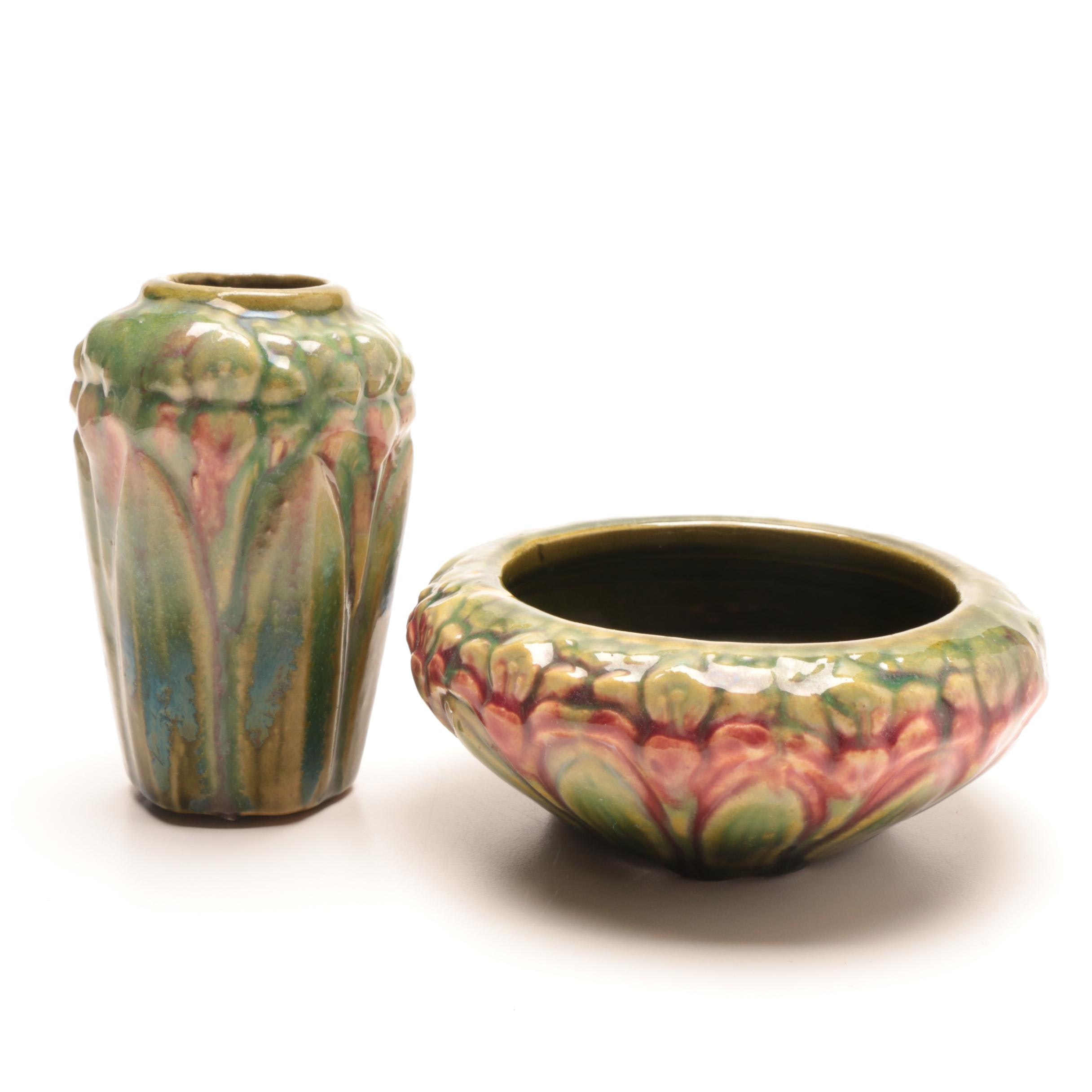 Art Pottery Vase and Matching Bowl Attributed to Peters and Reed