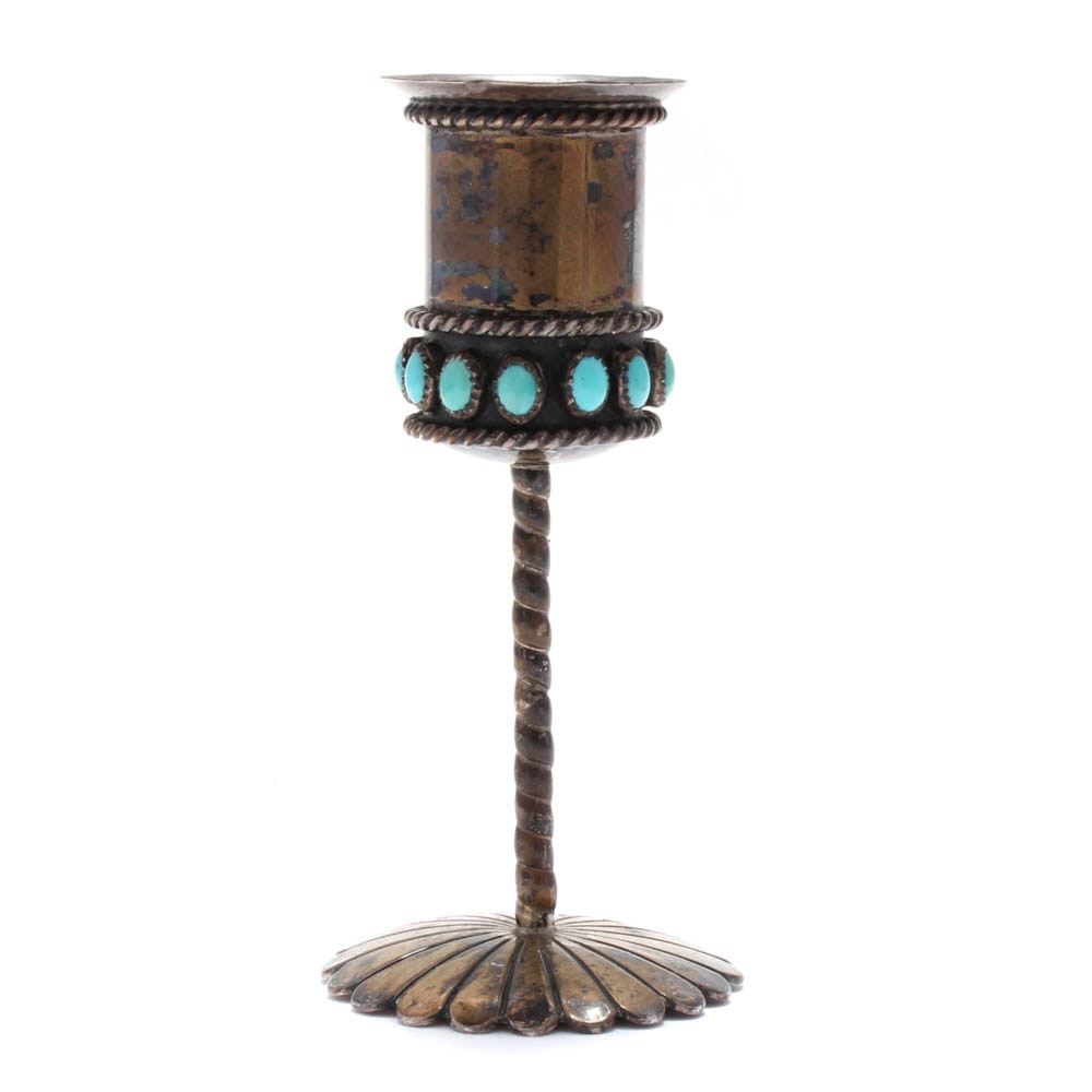 Tim Kee Whitman Navajo Diné Sterling Silver Turquoise Candle Stick Holder