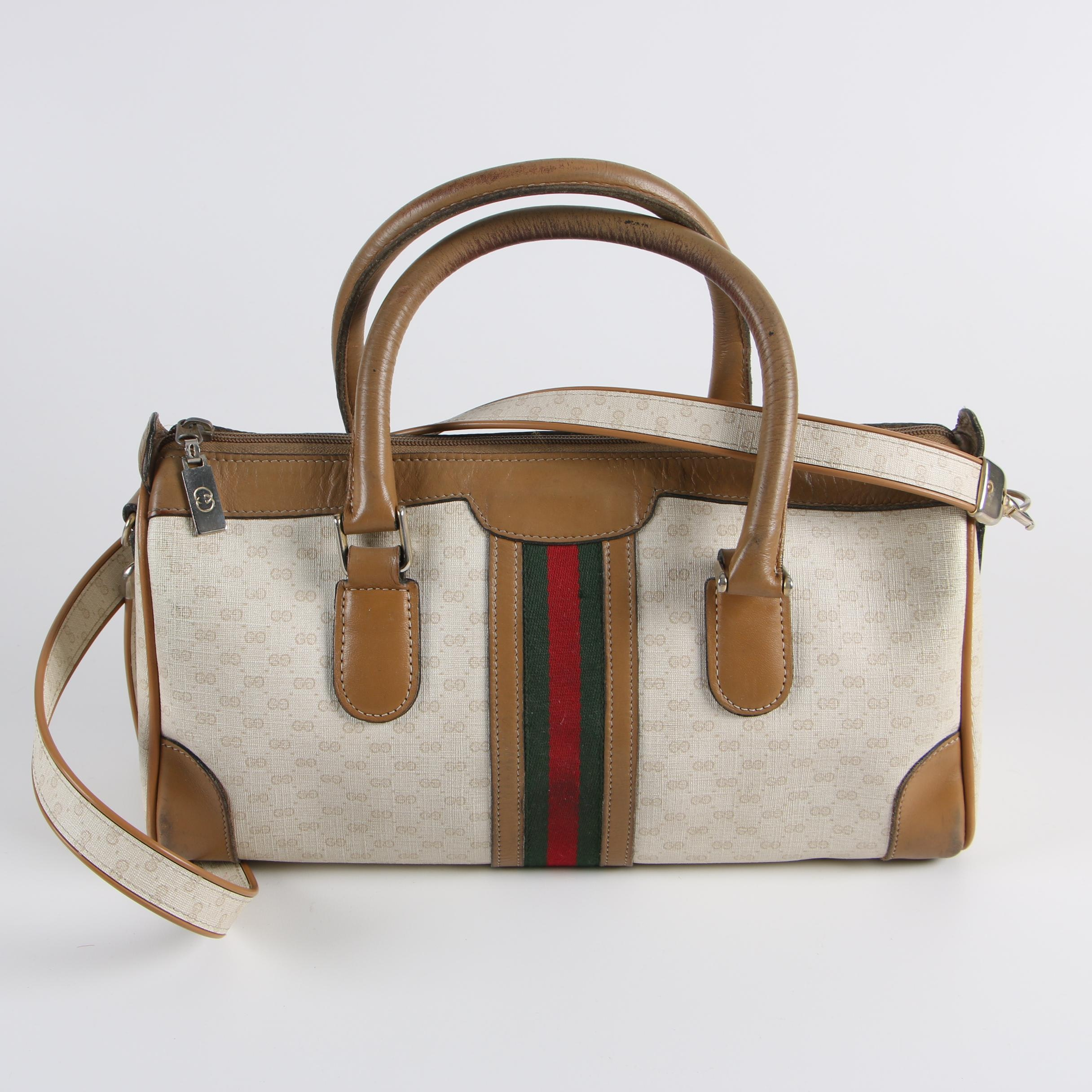 Vintage Gucci GG Supreme Canvas and Leather Web Stripe Satchel