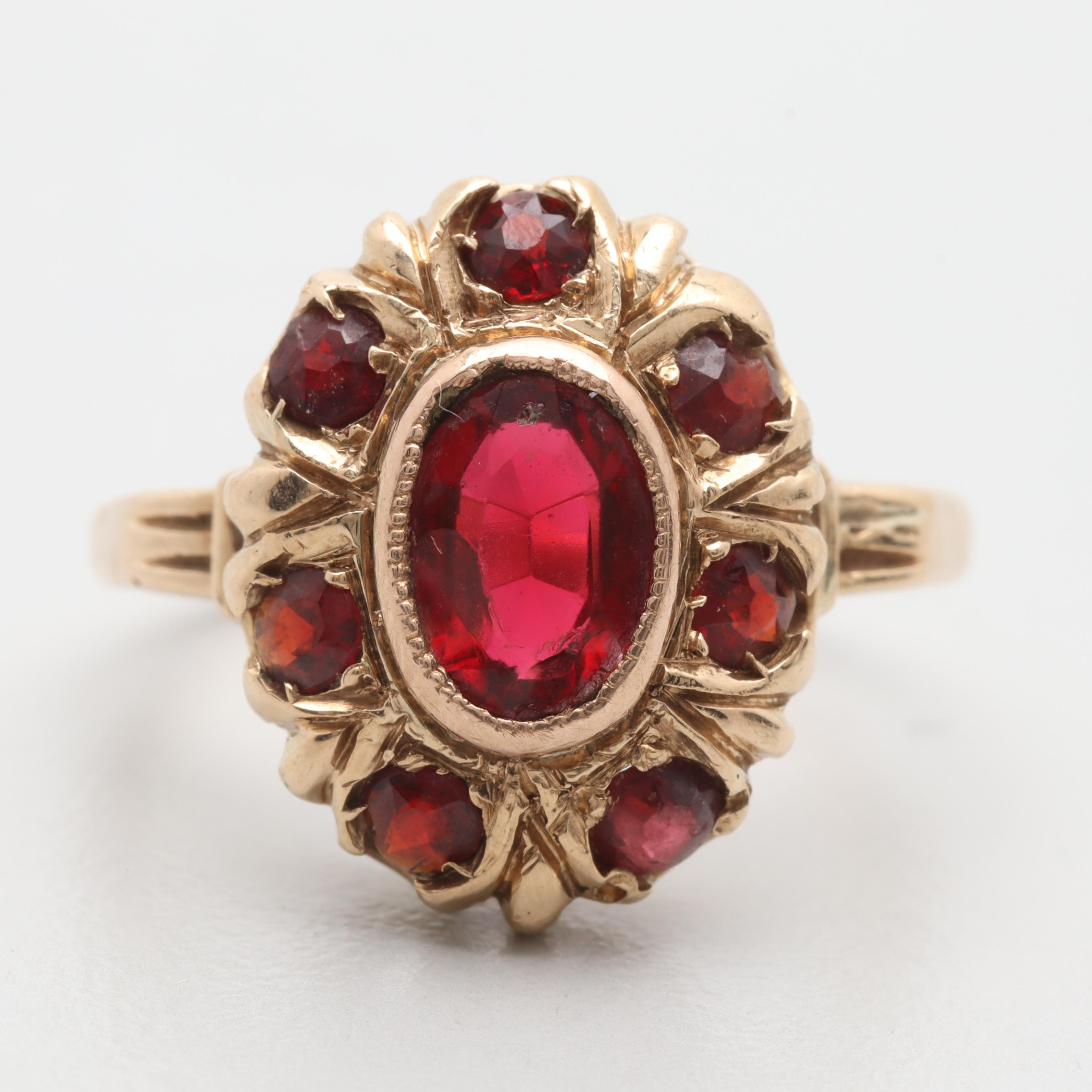 Vintage 14K Yellow Gold Red Glass and Garnet Ring