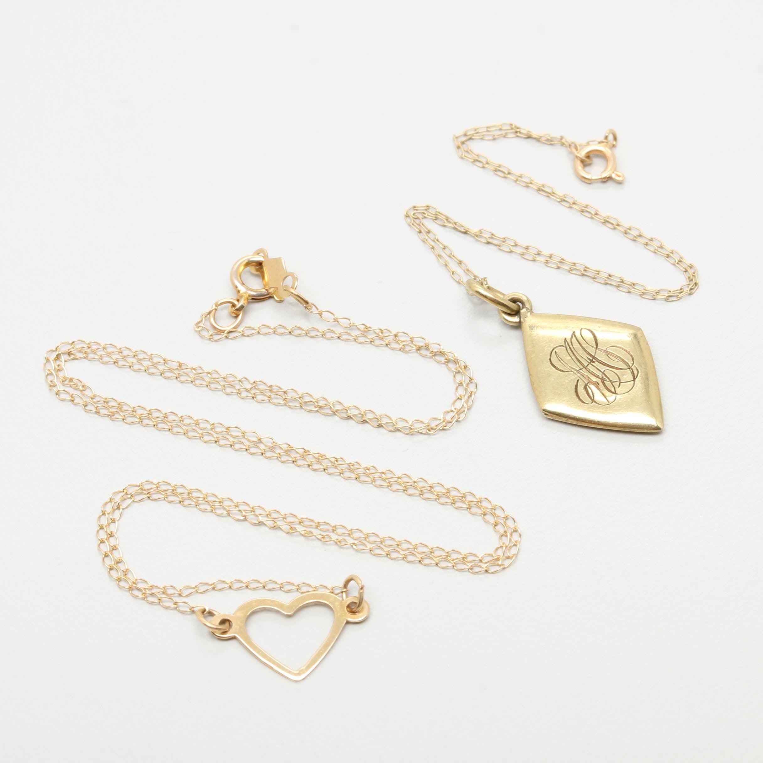 14K Yellow Gold Charm Bracelet and Heart Necklace