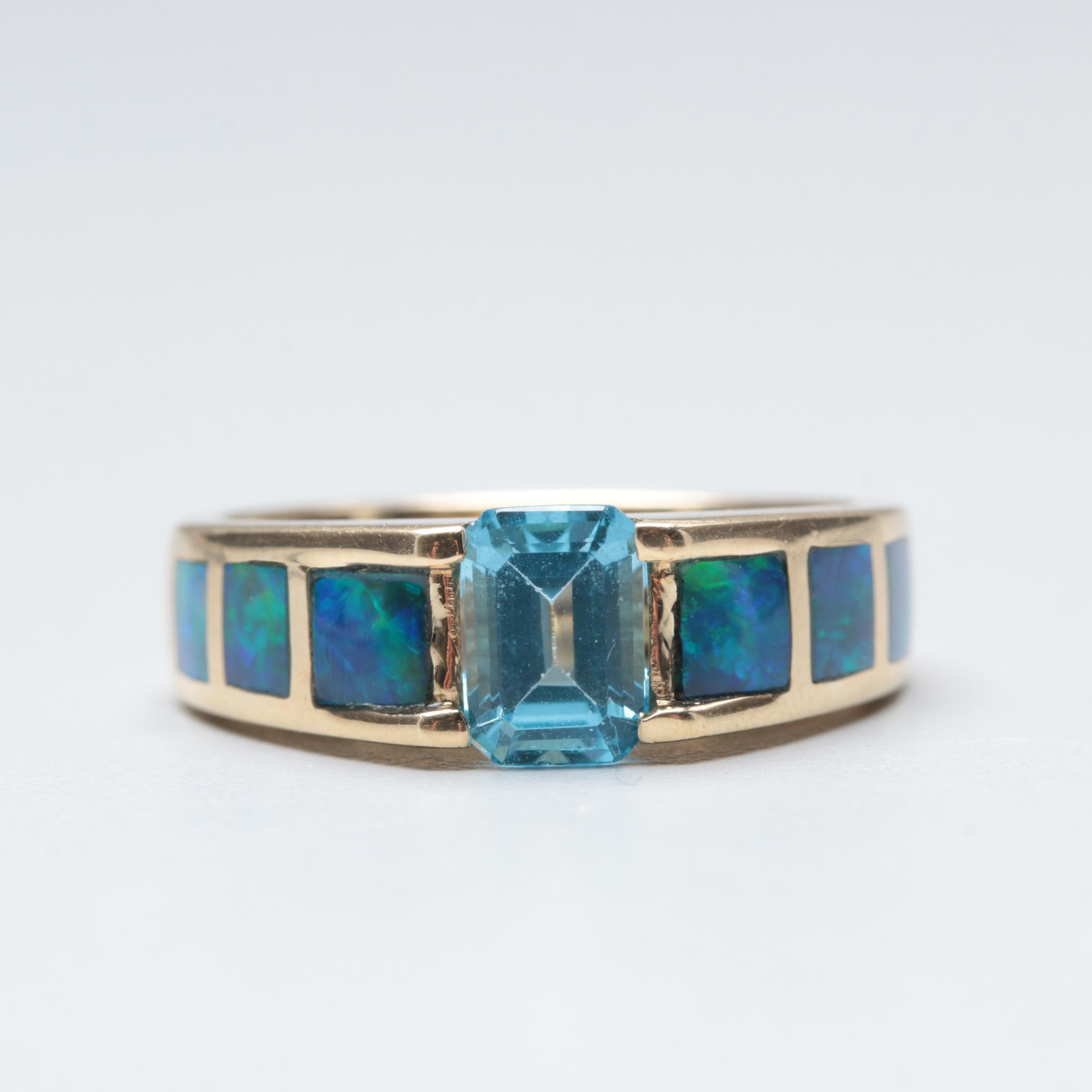 14K Yellow Gold Blue Topaz and Opal Double Ring