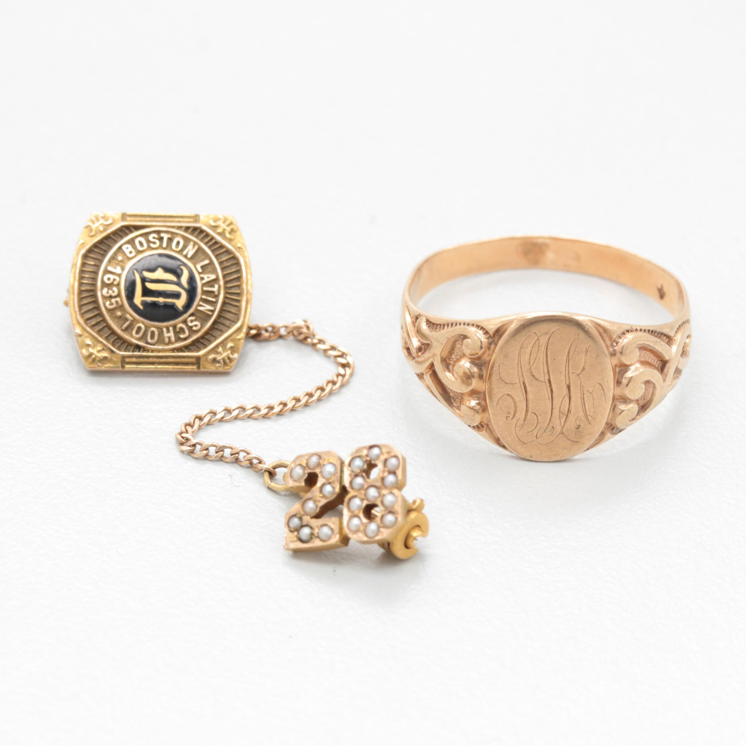 10K Yellow Gold Enamel and Seed Pearl Class Pins with Monogram Ring