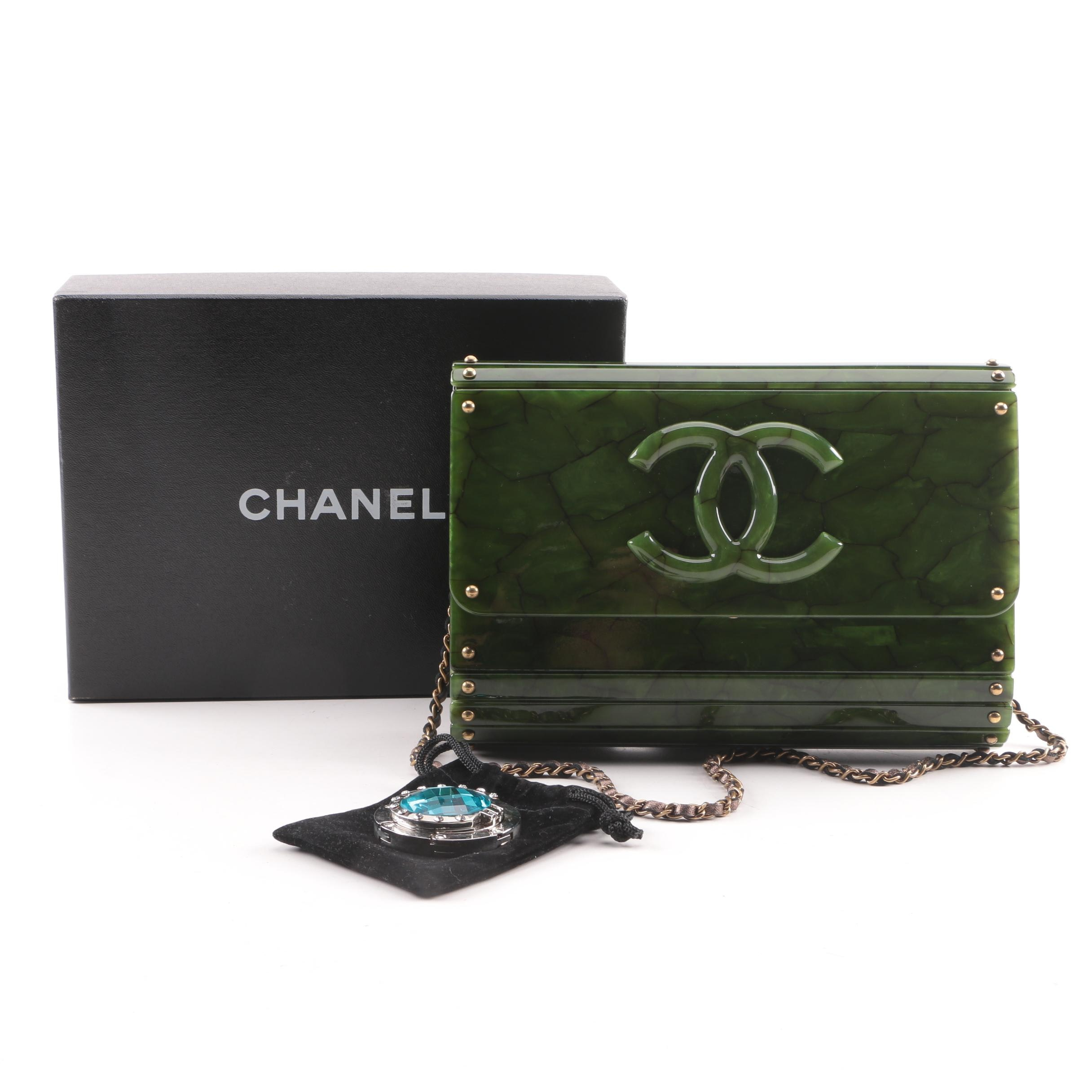 Chanel Uni Sac Classique Rabat Marbled Green Acrylic Box Bag