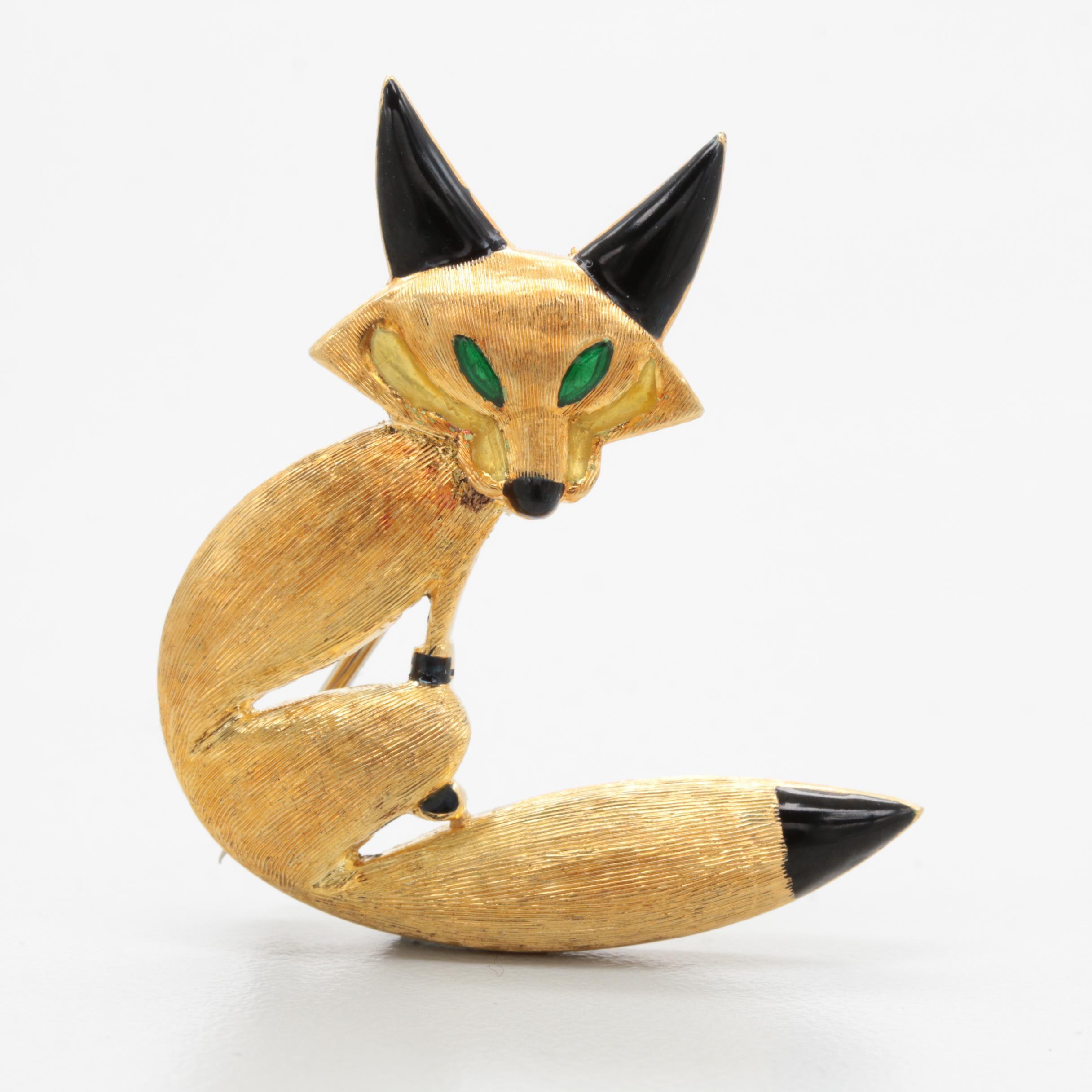 18K Yellow Gold Enamel Fox Brooch