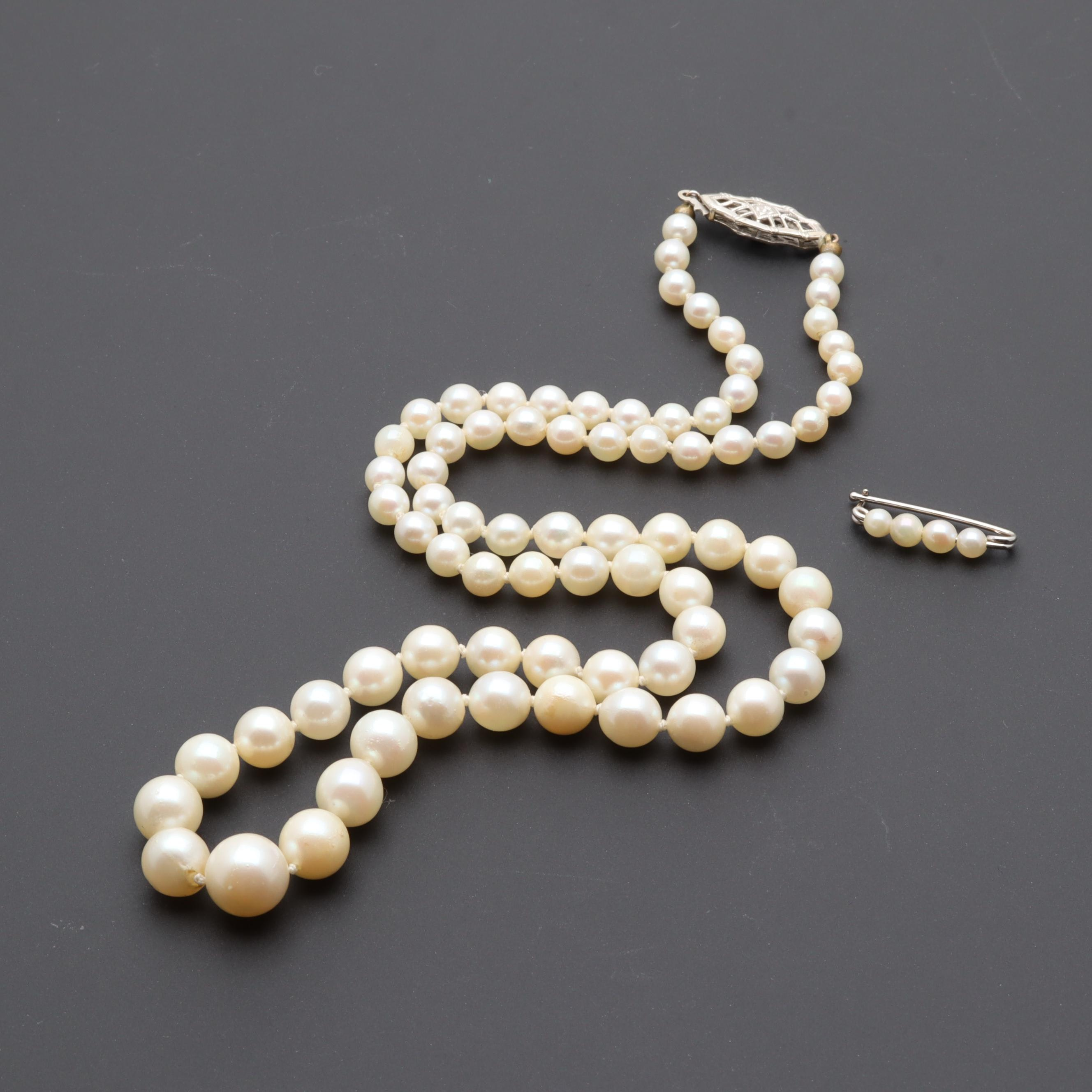 14K White Gold Cultured Pearl Necklace and Pin
