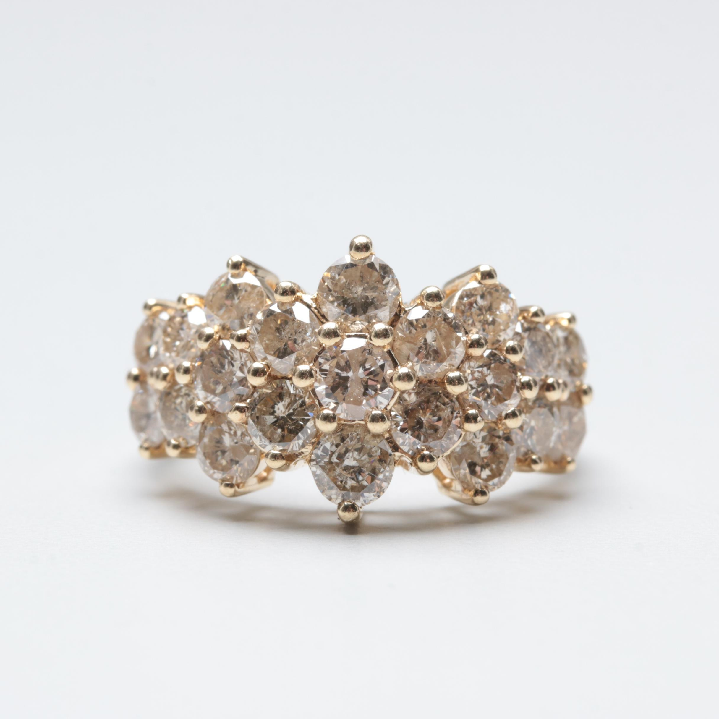 10K Yellow Gold 3.15 CTW Diamond Ring