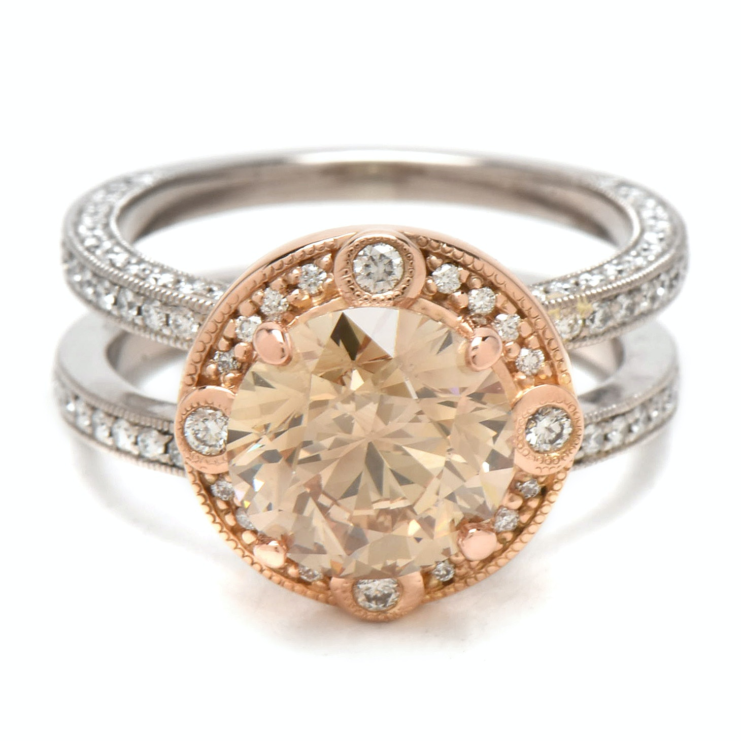 Palladium with 18K Rose Gold 4.02 CTW Diamond Ring with GIA Report