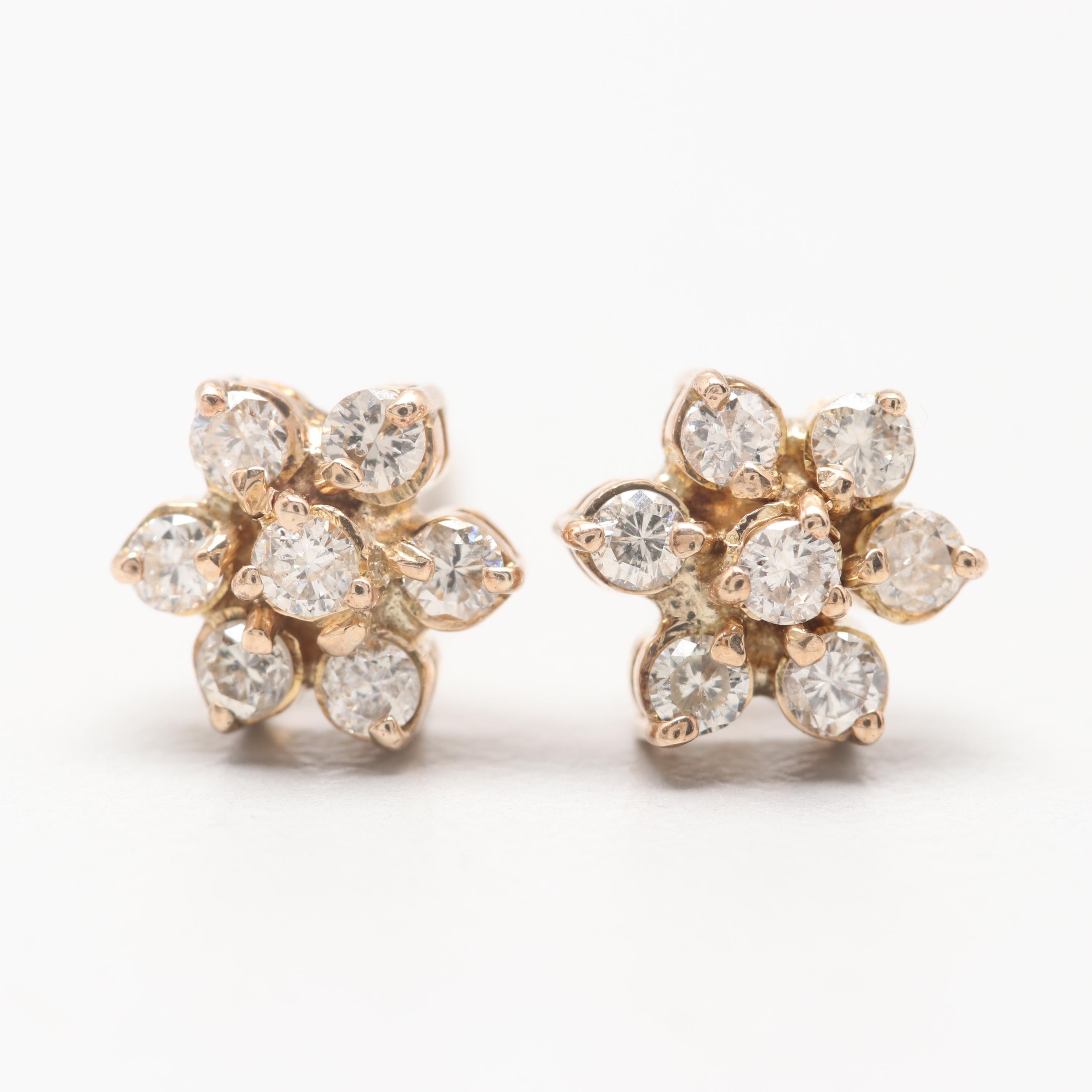 10K Yellow Gold Diamond Flower Motif Earrings