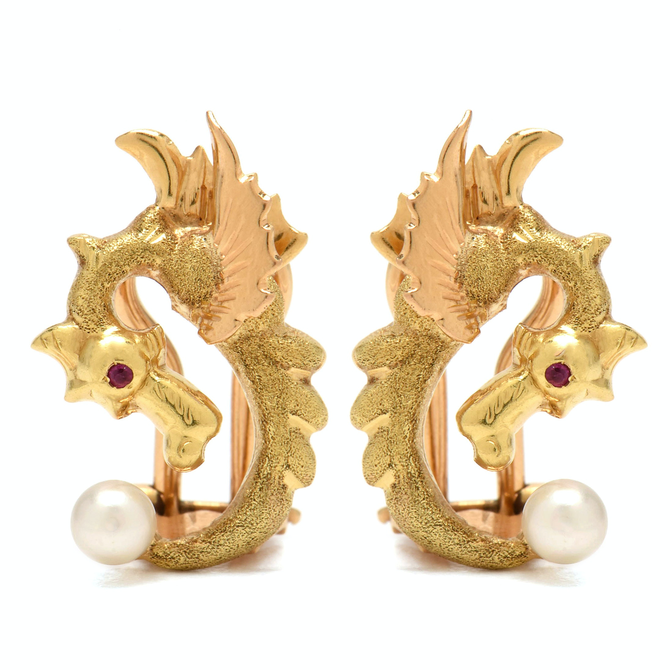 18K Yellow Gold Ruby and Cultured Pearl Dragon Clip Back Earrings