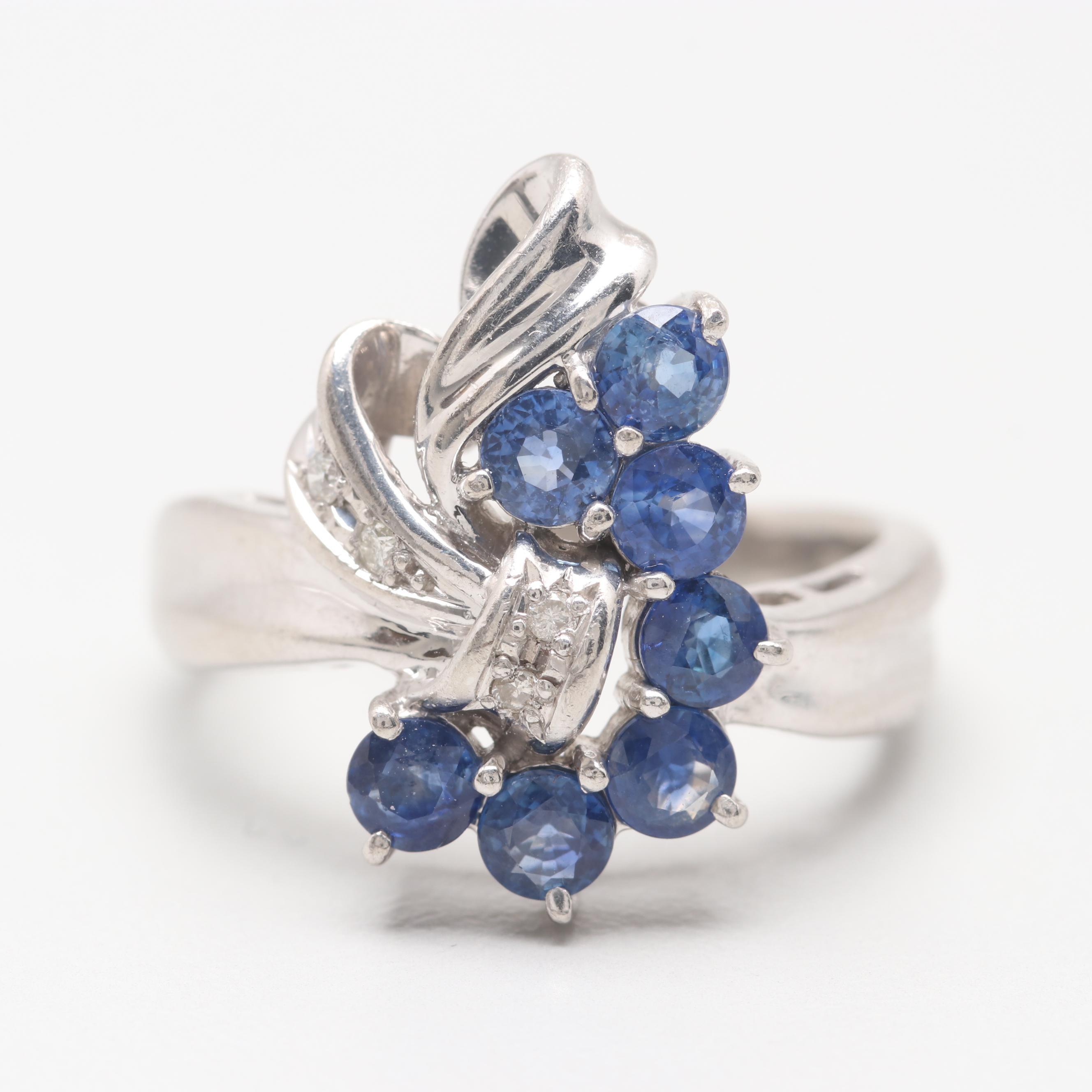 Retro Style Platinum Blue Sapphire and Diamond Ring