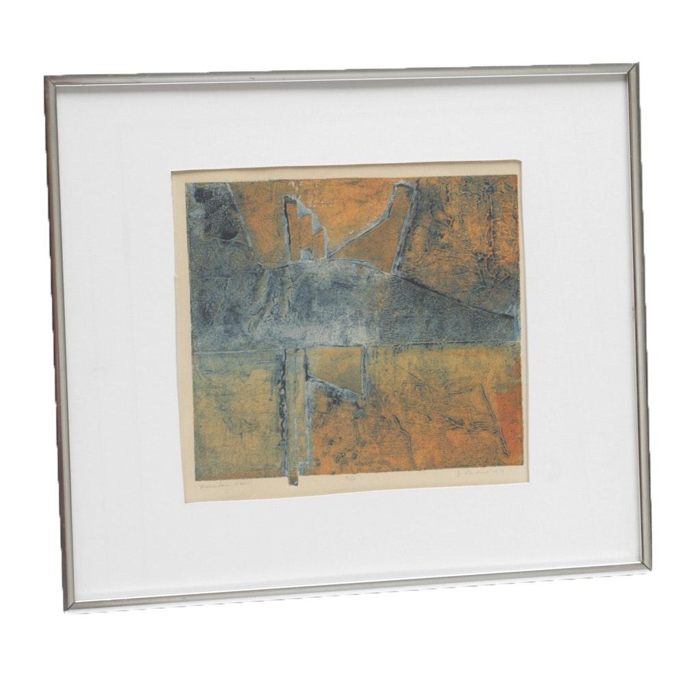 "J. Parker 1974 Artist Proof Relief Print ""Mountain View"""
