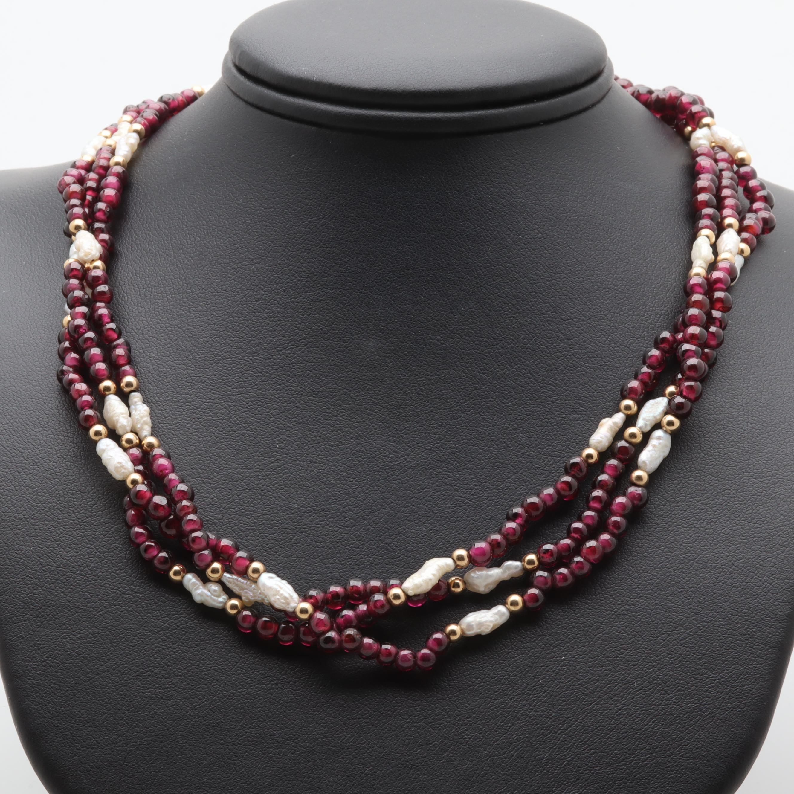14K Yellow Gold Garnet and Cultured Pearl Multi-Strand Beaded Necklace