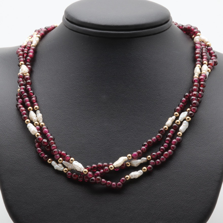 1ff07f2d9f93c 14K Yellow Gold Garnet and Cultured Pearl Multi-Strand Beaded Necklace