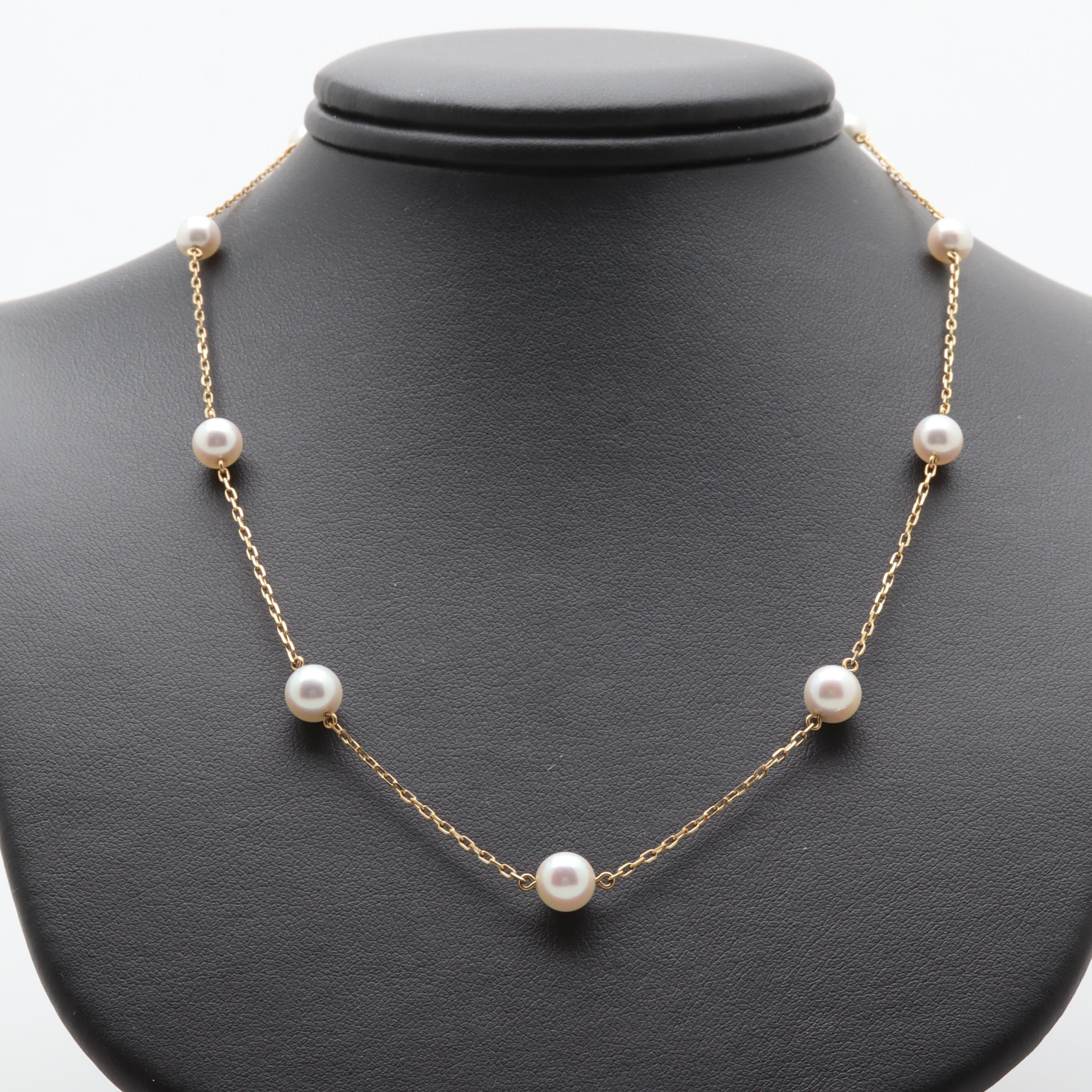 Mikimoto 18K Yellow Gold Cultured Pearl Station Necklace