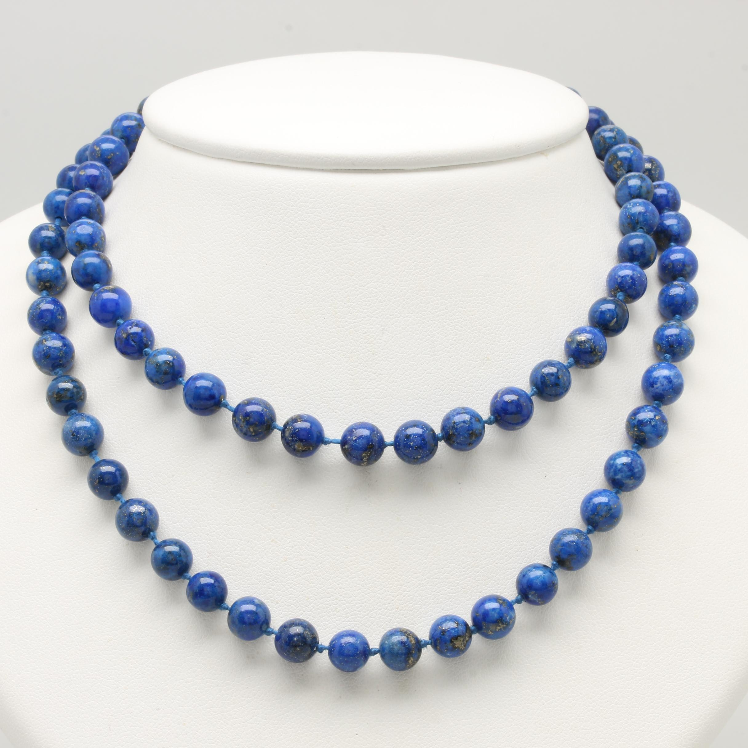 14K Yellow Gold Lapis Lazuli Bead Strand Necklace