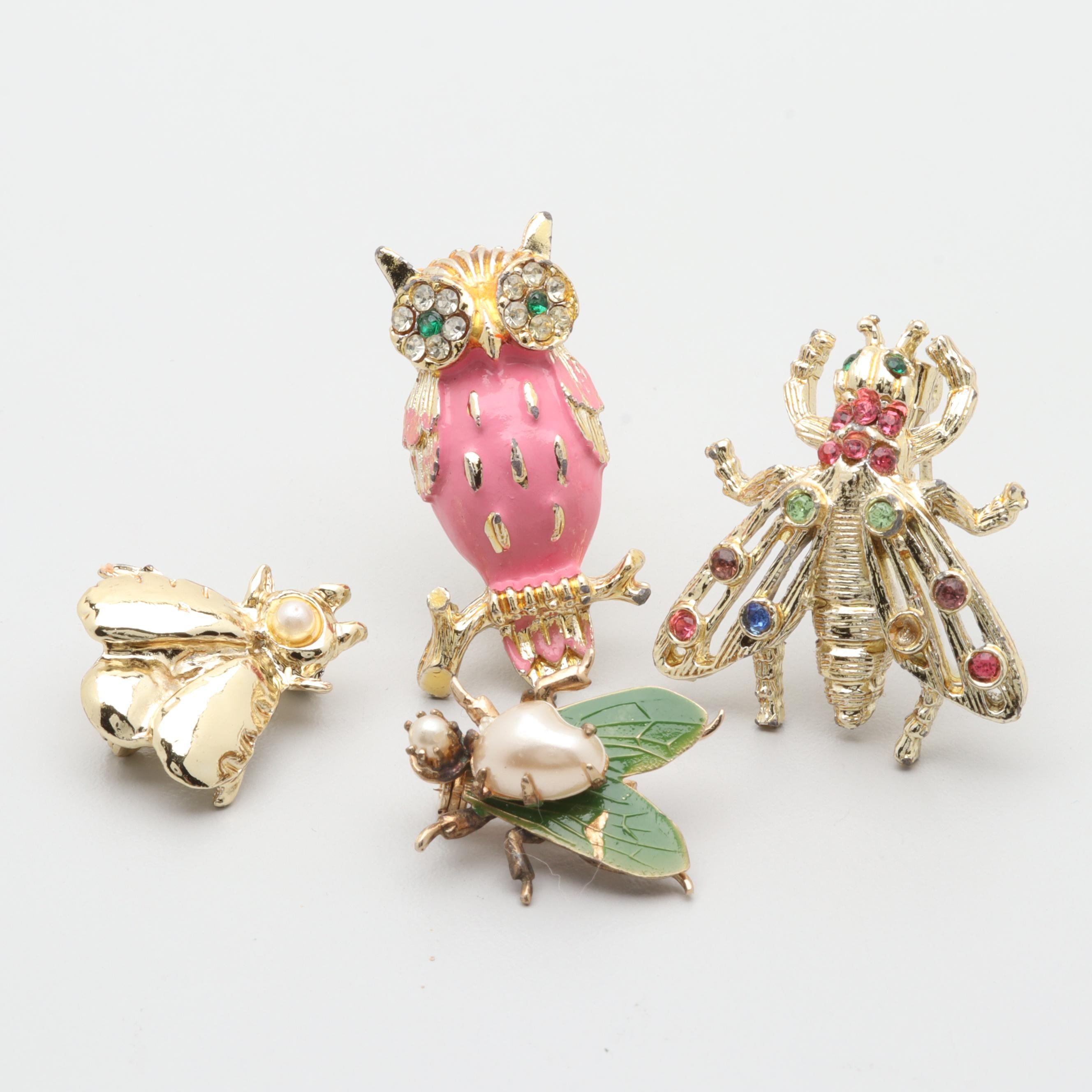 Gold Tone Imitation Pearl, Enamel, and Foilback Animal Brooch Selection