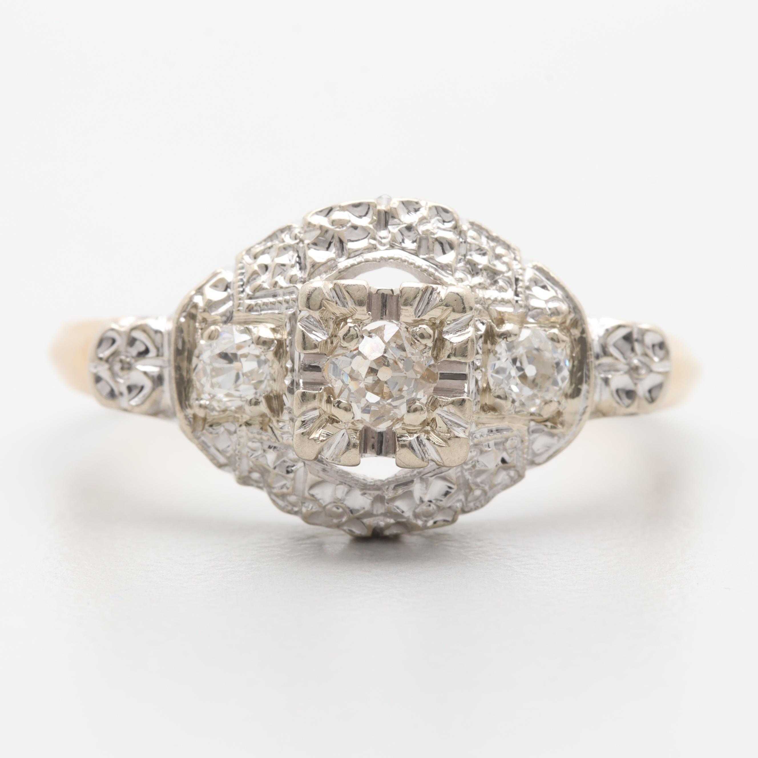 Circa 1920s - 1930s 14K Yellow and White Gold Diamond Ring