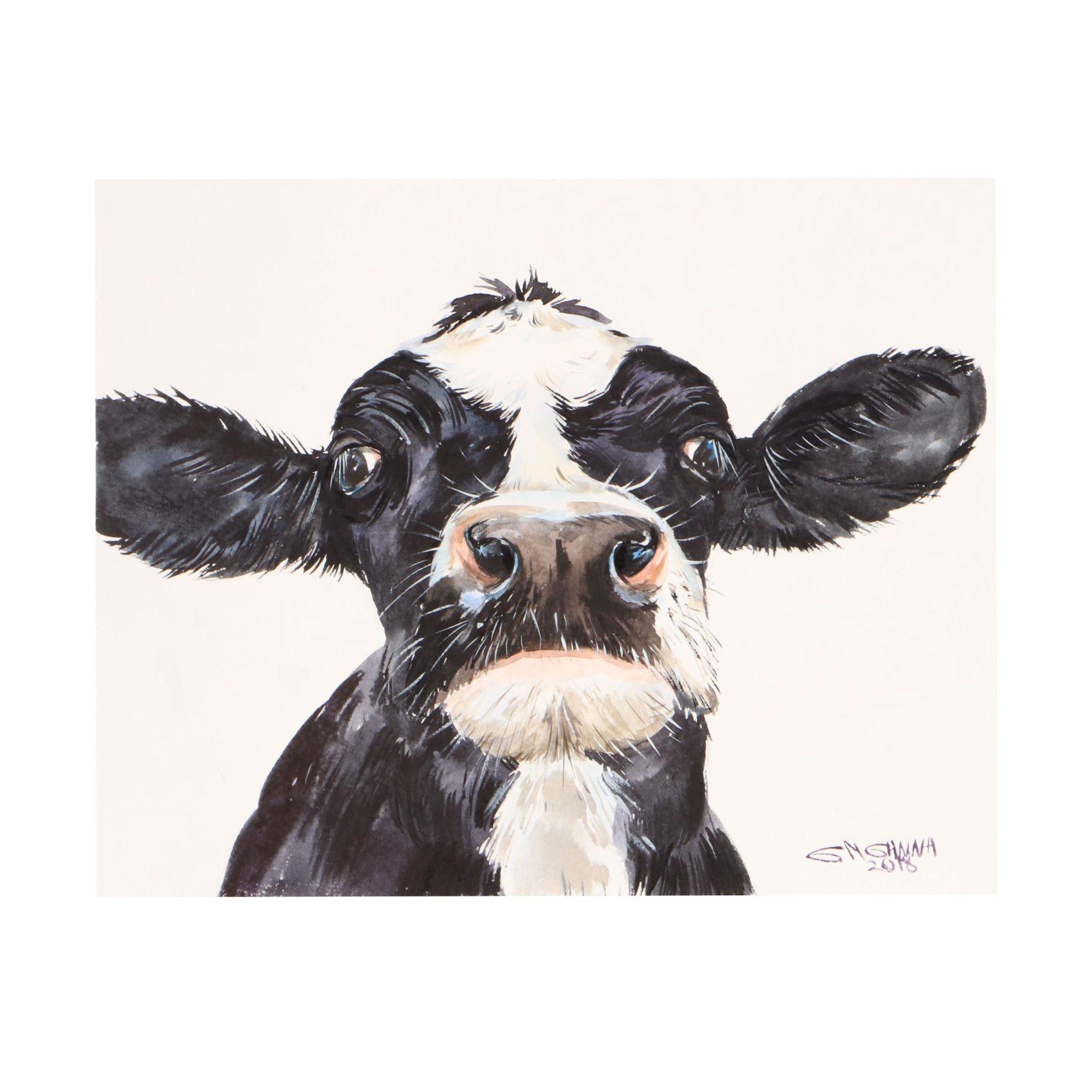 "Ganna Melnychenko 2018 Watercolor Painting ""Black/White Cow Faced Portrait"""
