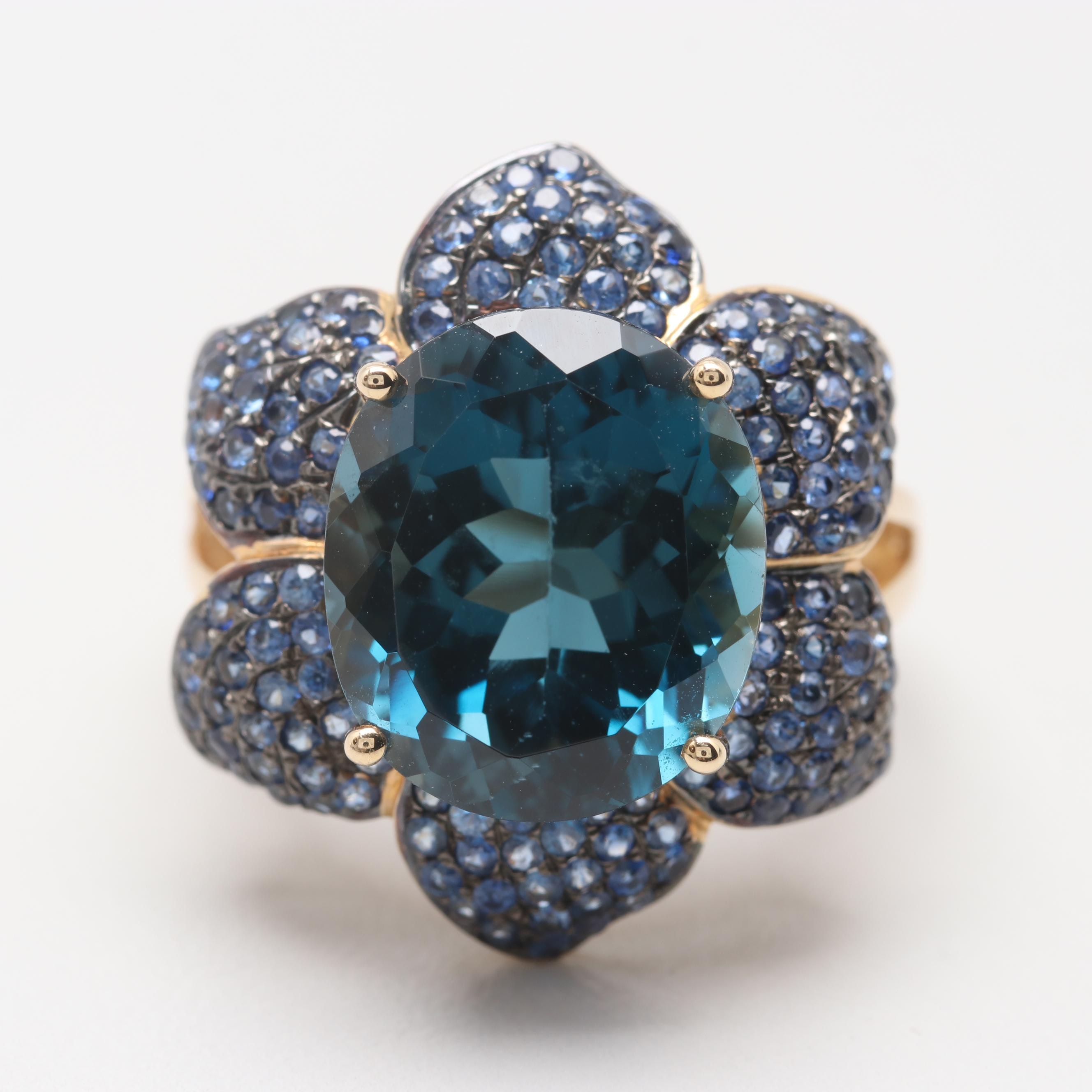 14K Yellow Gold Blue Topaz and Blue Sapphire Ring