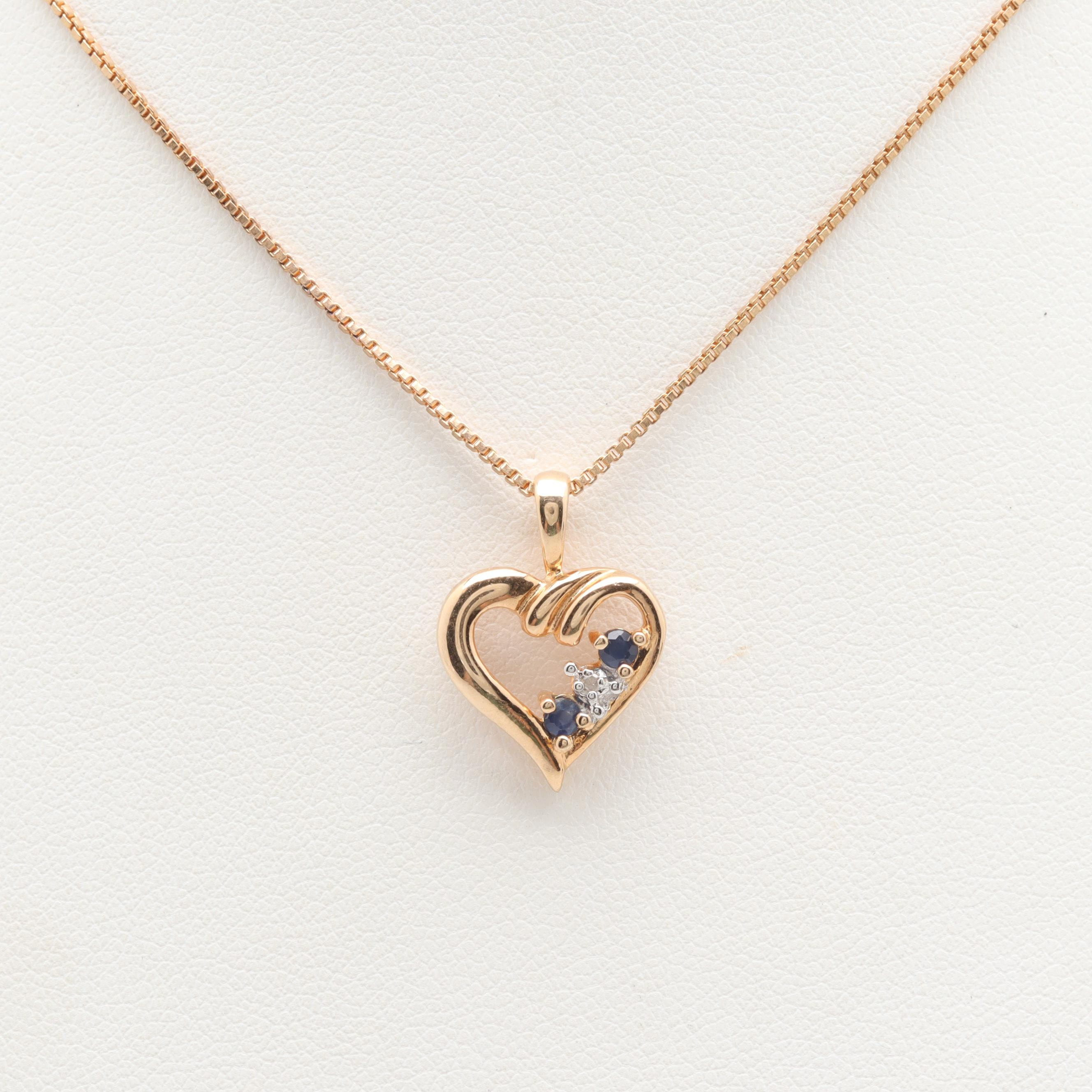 Gold Wash on Sterling Silver Blue Sapphire and Diamond Heart Motif Necklace