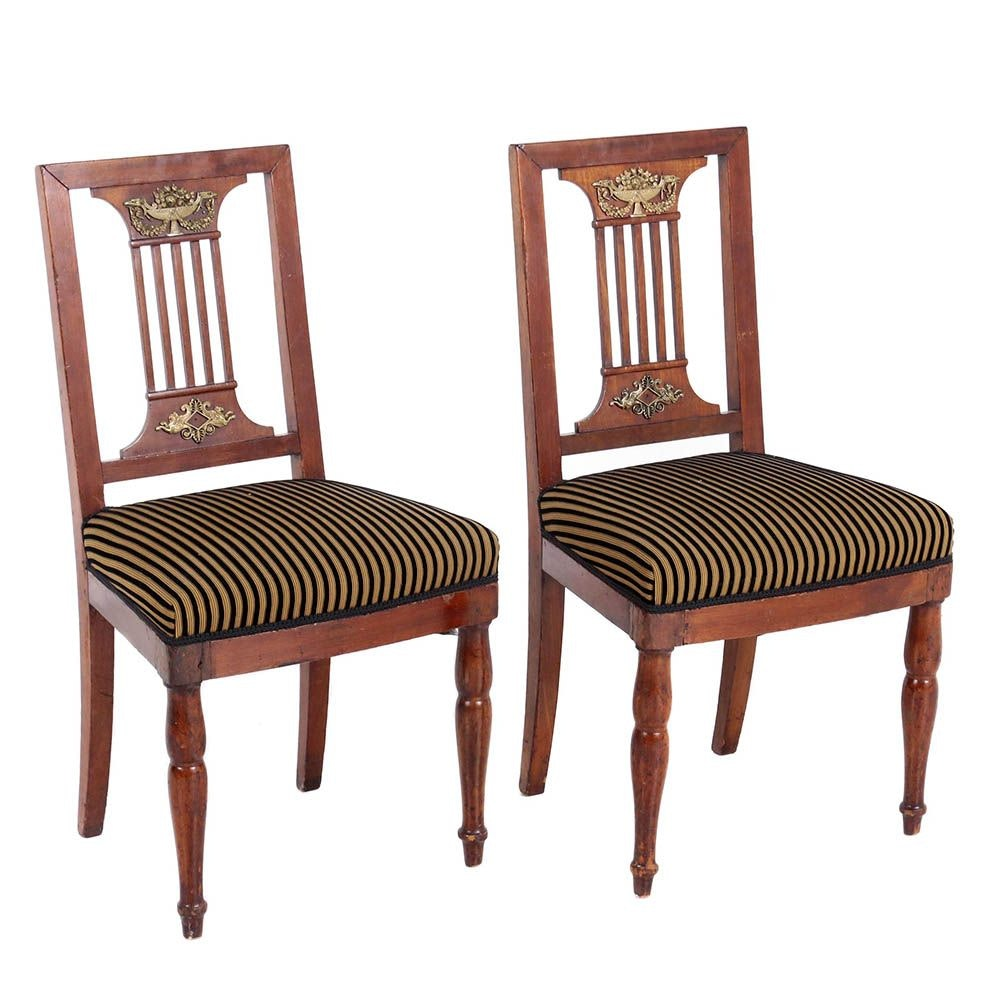 Pair of French Empire Ormolu and Mahogany Chairs by Jacob-Desmalter, Circa 1810
