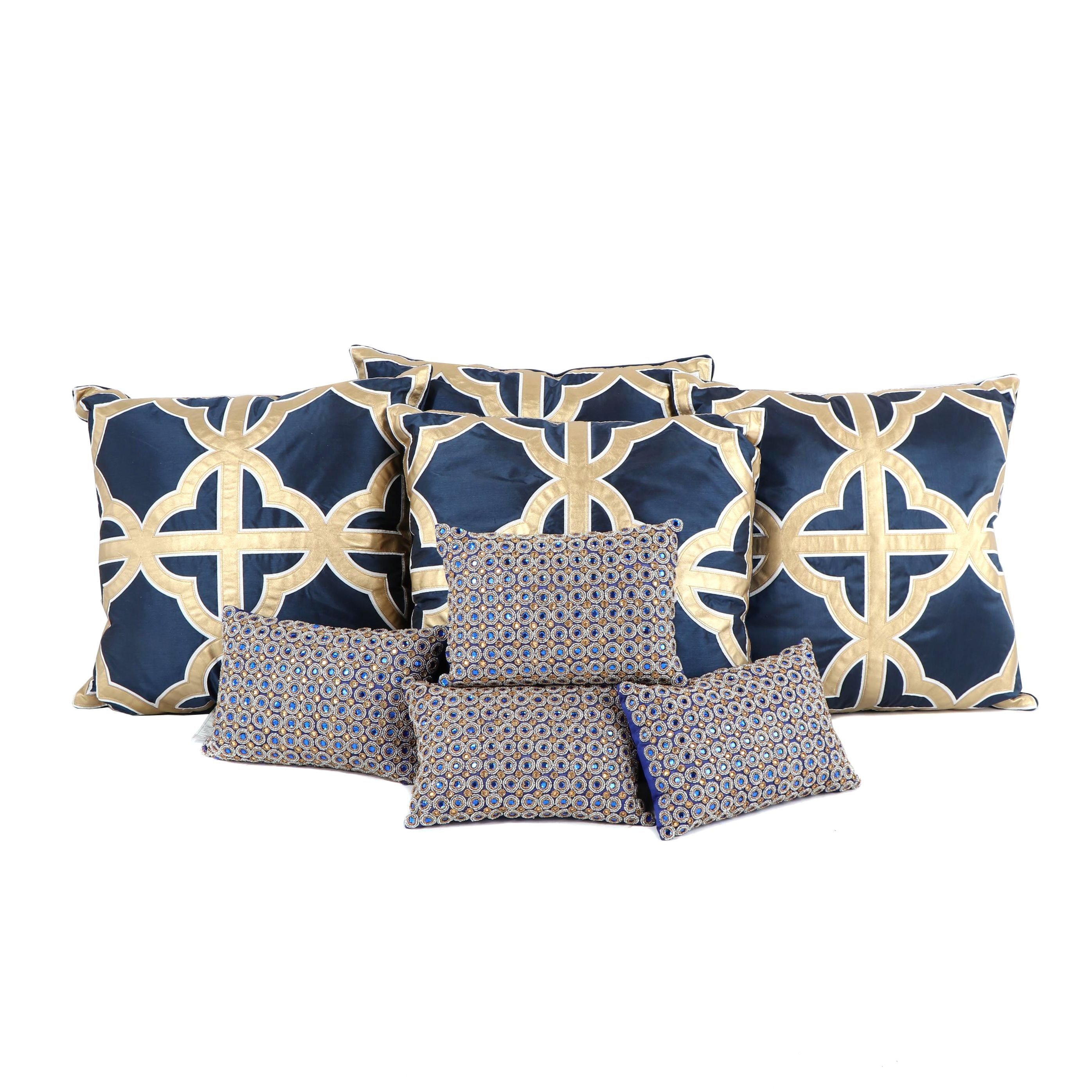 Contemporary Blue and Metallic Gold Colored Accent Pillows