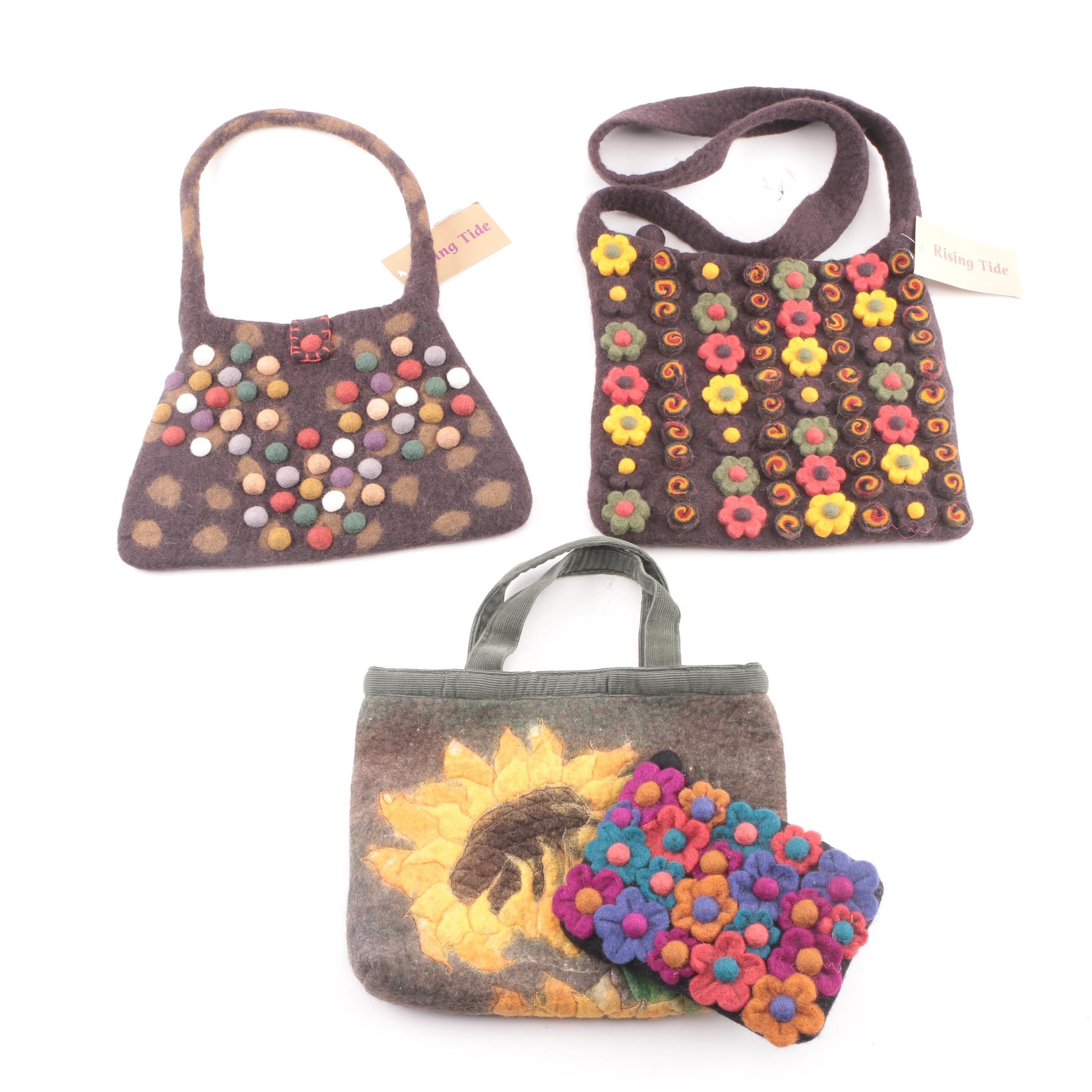 Rising Tide Wool Handbags and Coin Purse