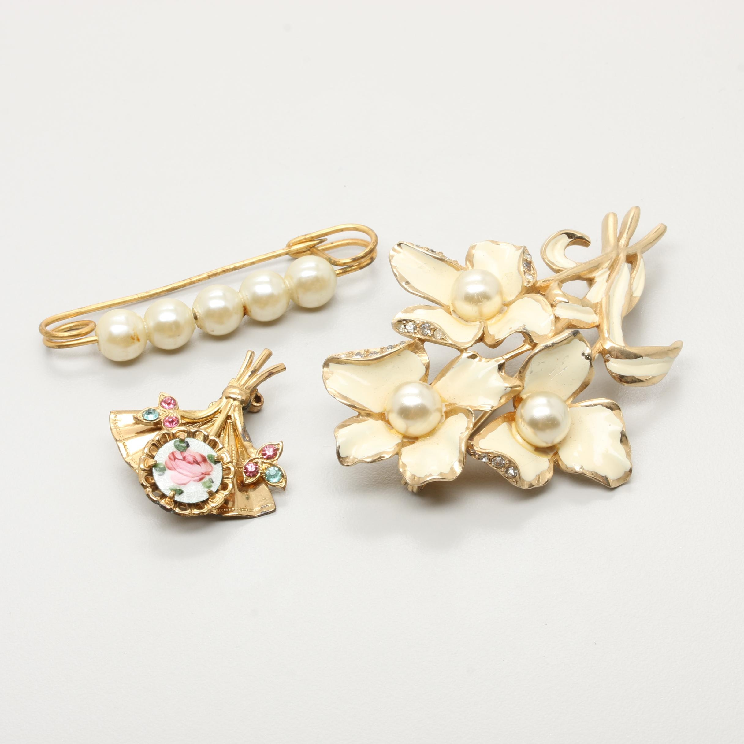 Gold Tone Brooch Selection Including Imitation Pearl