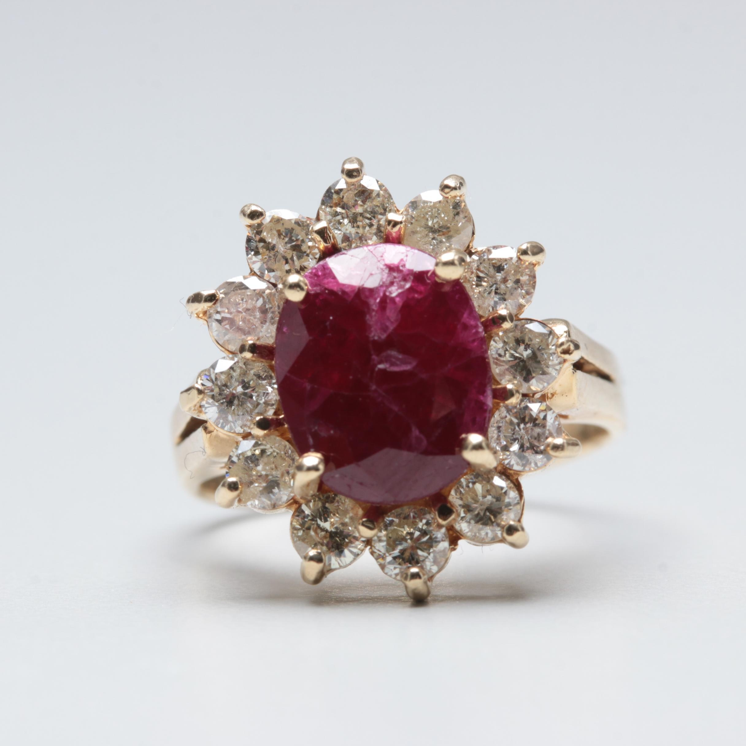 14K Yellow Gold 2.04 CT Ruby and 0.96 CTW Diamond Ring