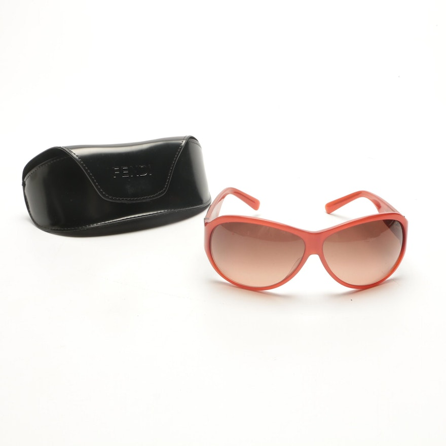 534d393a96 Fendi Orange Shield-Style Sunglasses   EBTH
