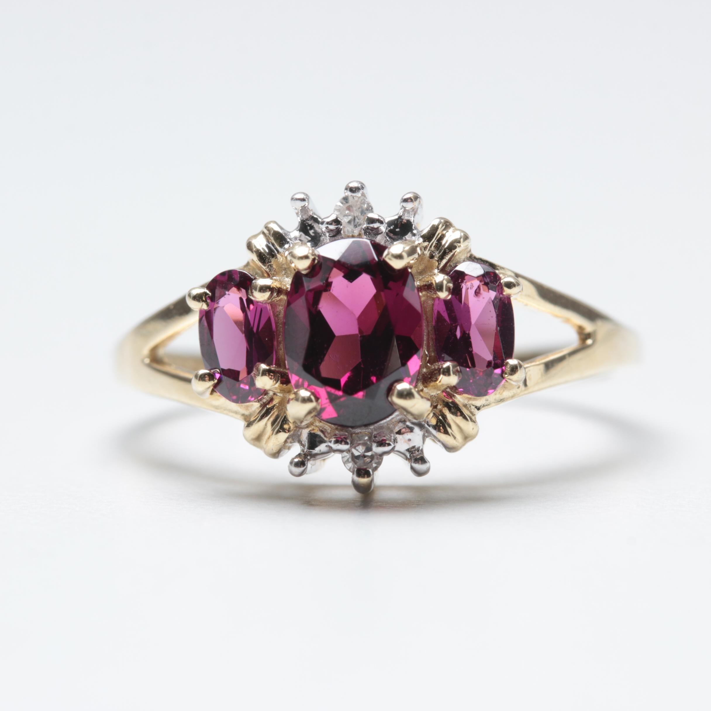 10K Yellow Gold Rhodolite Garnet and Diamond Ring