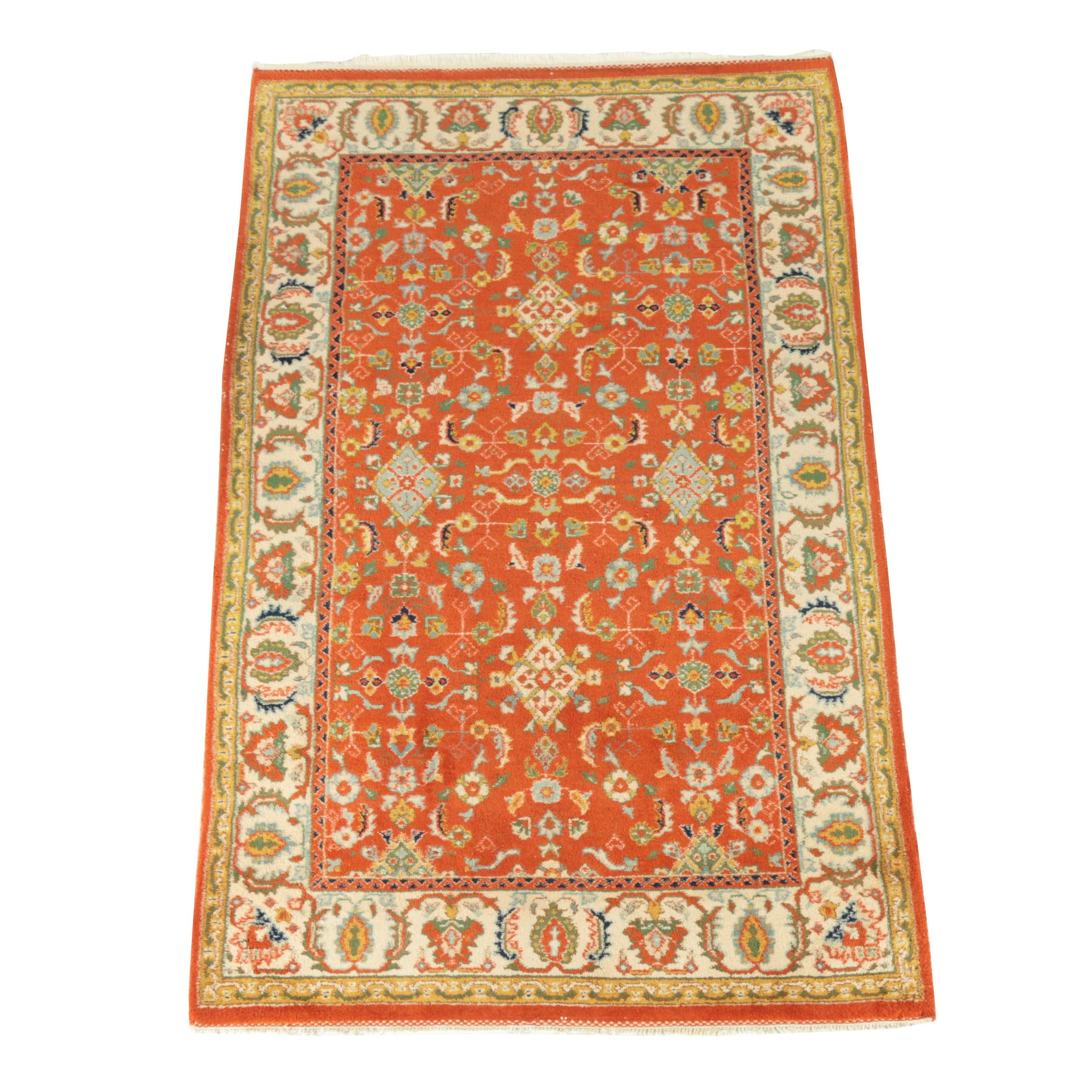 Hand-Knotted Indian Wool Area Rug