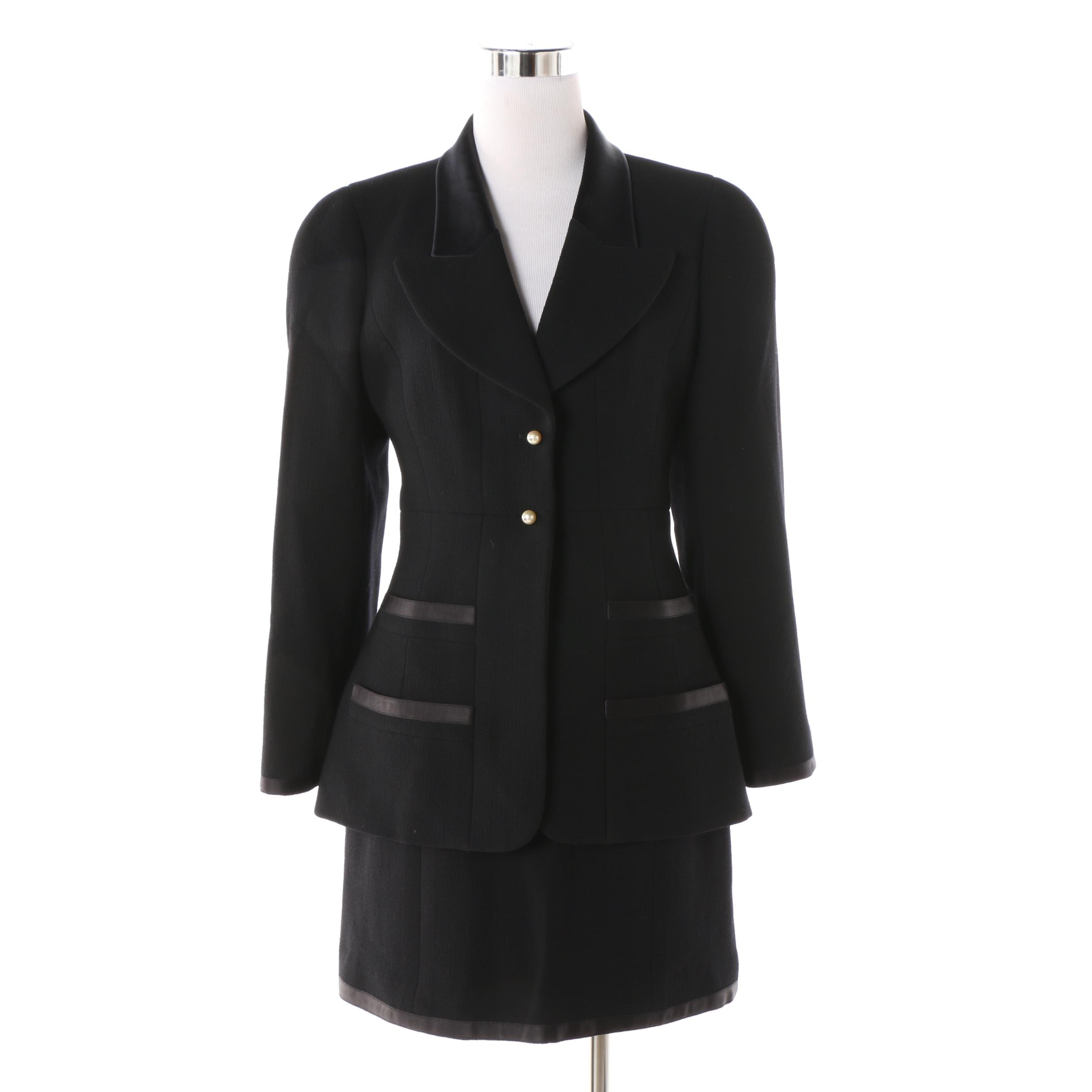 Chanel Boutique Black Wool Skirt Suit with Silk Trim