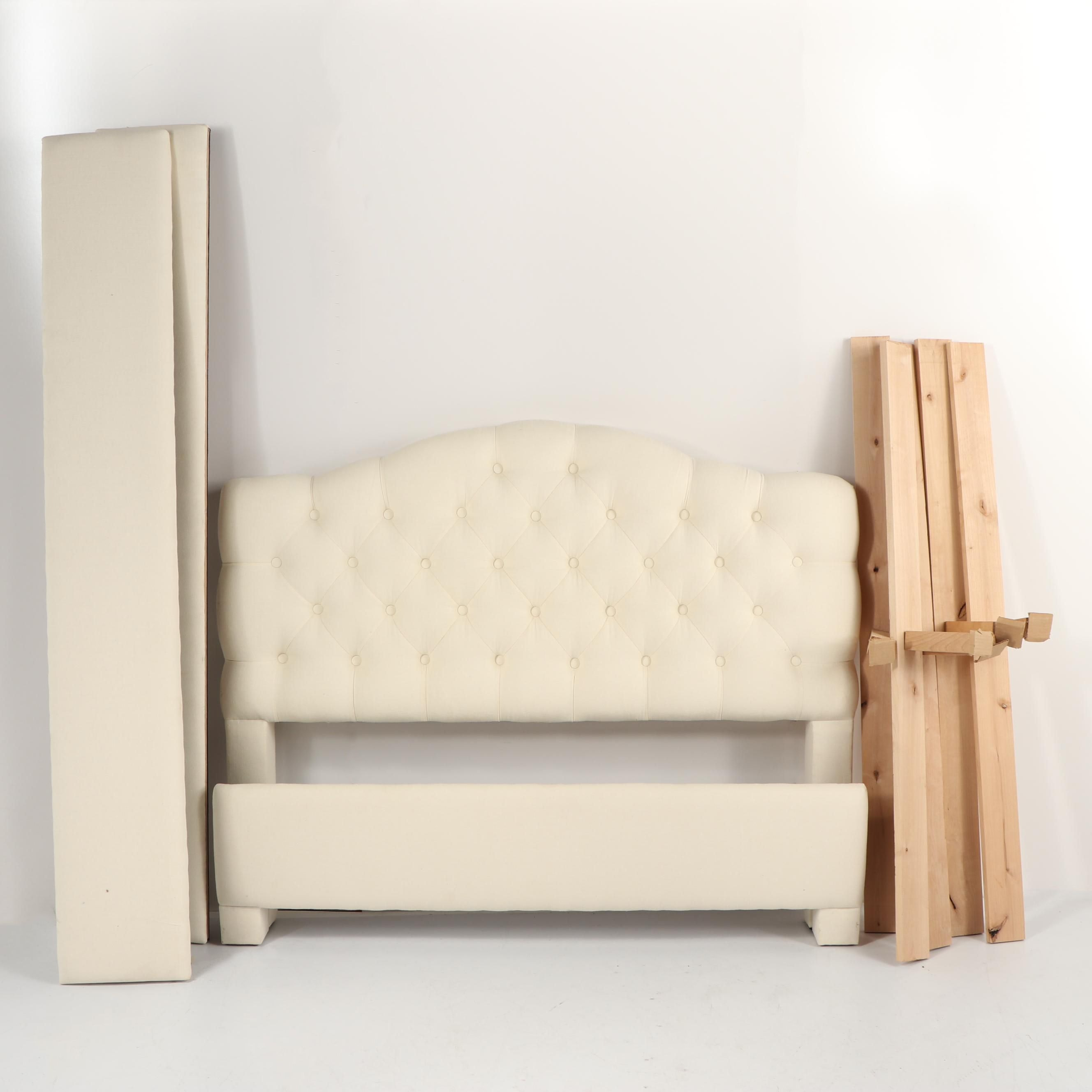 Tufted White Cotton Queen Size Bed Frame