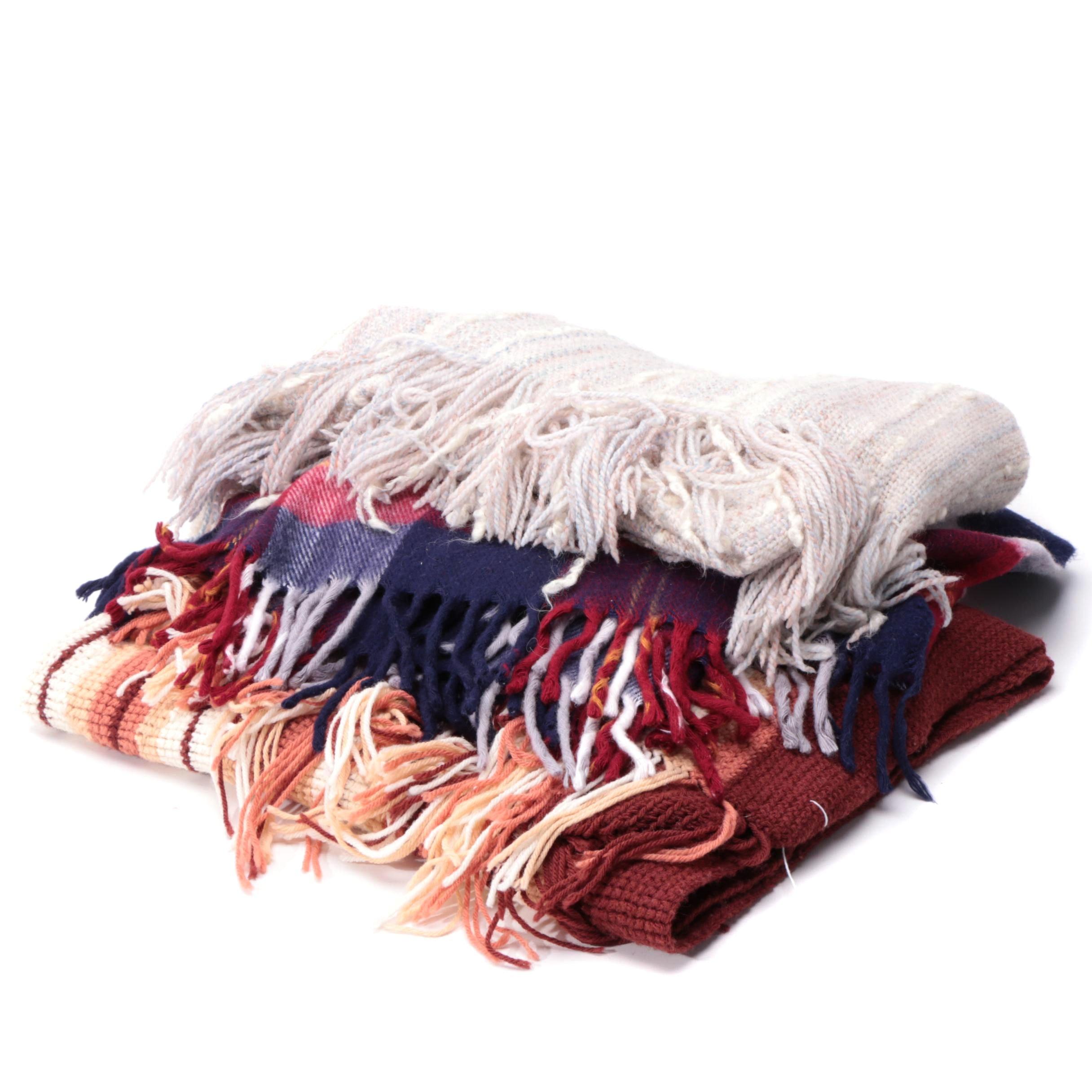 Faribault Plaid Wool Throw Blanket with Knit Afghans