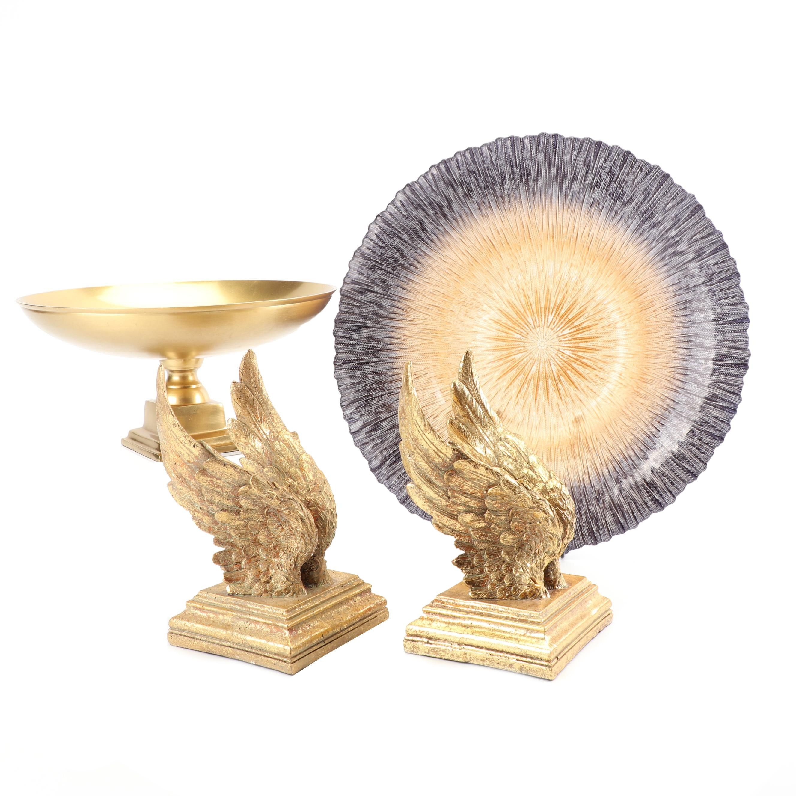 Gold Painted Wing Bookends with Art Glass Bowl and Compote