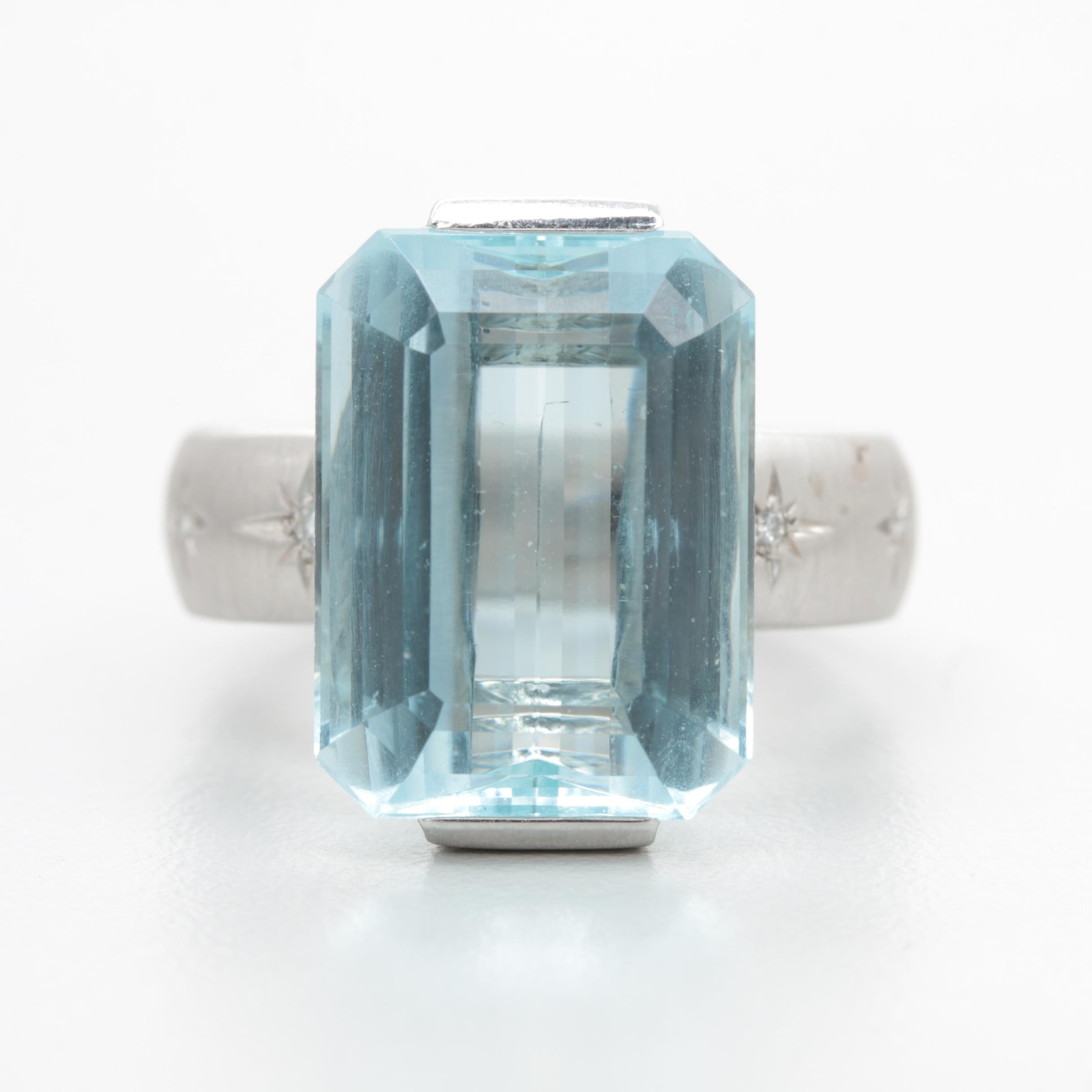 18K White Gold 12.87 CT Aquamarine and Diamond Ring