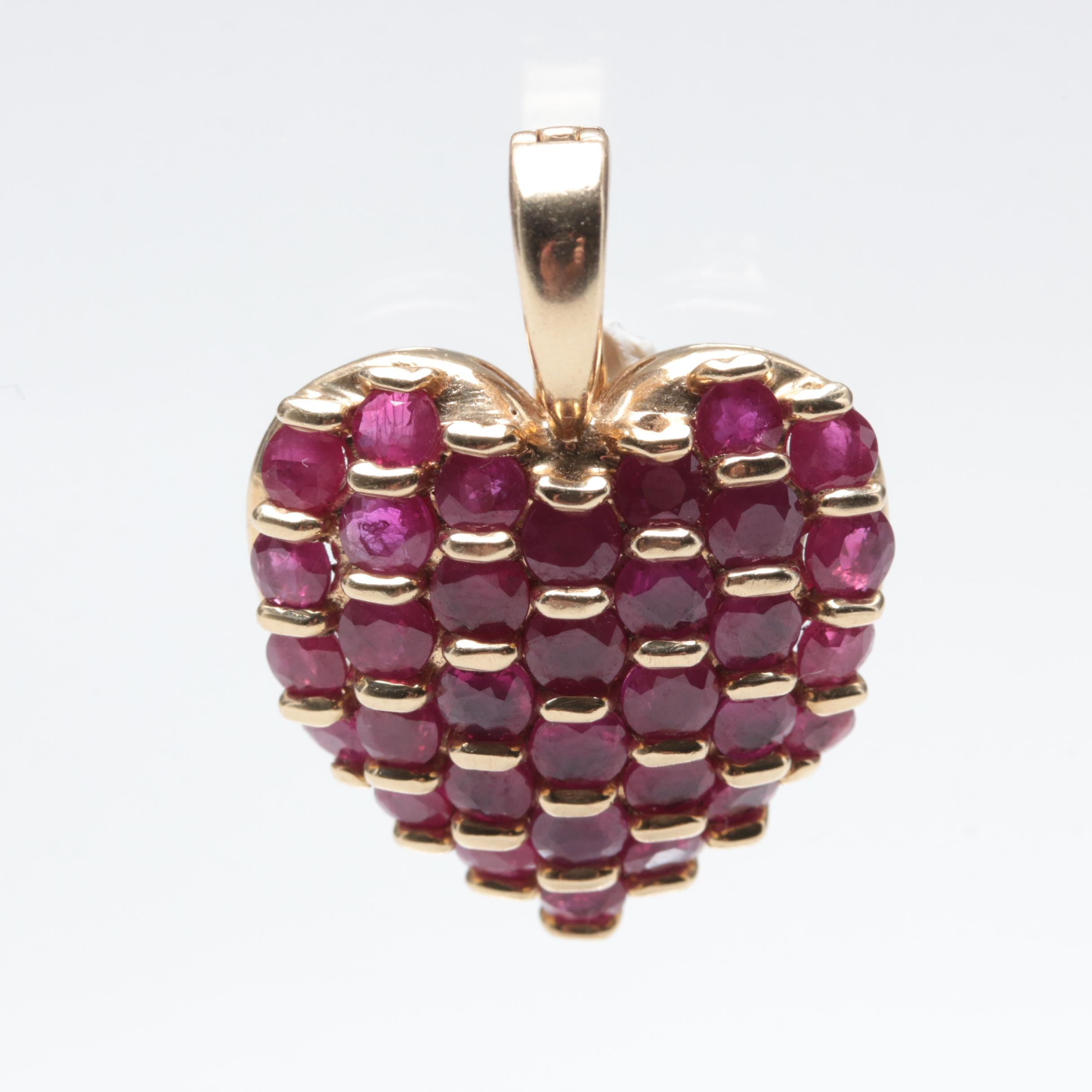 Effy 14K Yellow Gold Ruby Heart Pendant